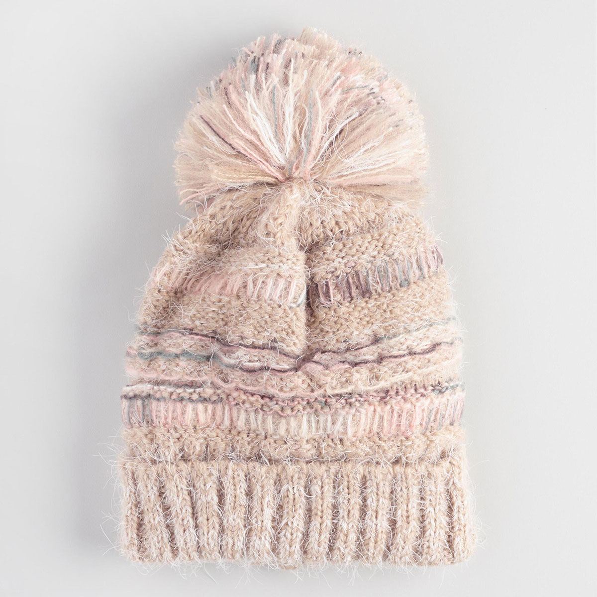Blush Mixed Knit Pom Hat