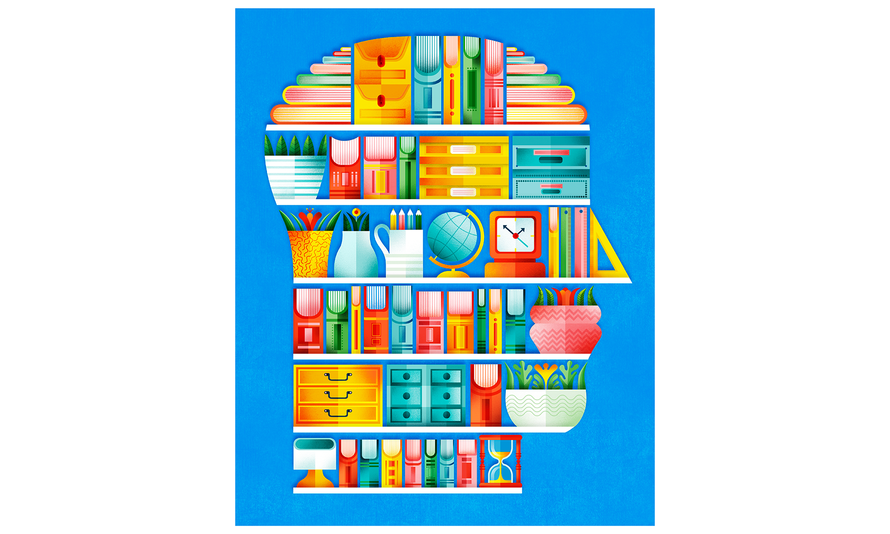 Illustration: person's head as organized shelves