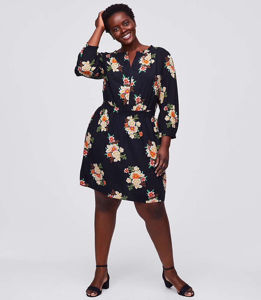 Bouquet Smocked Flare Dress