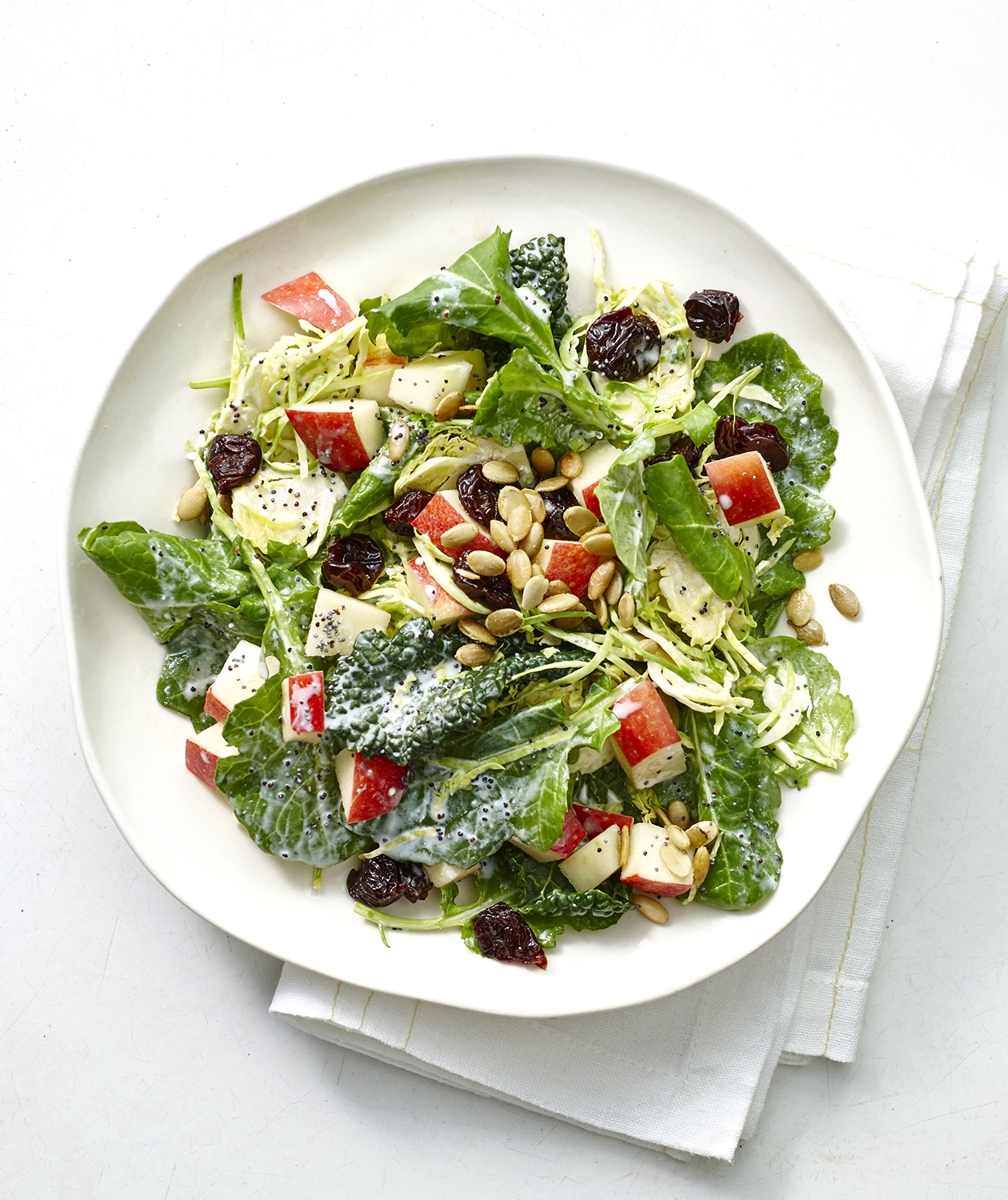 Shaved Brussels Sprouts and Kale Salad with Poppyseed Dressing