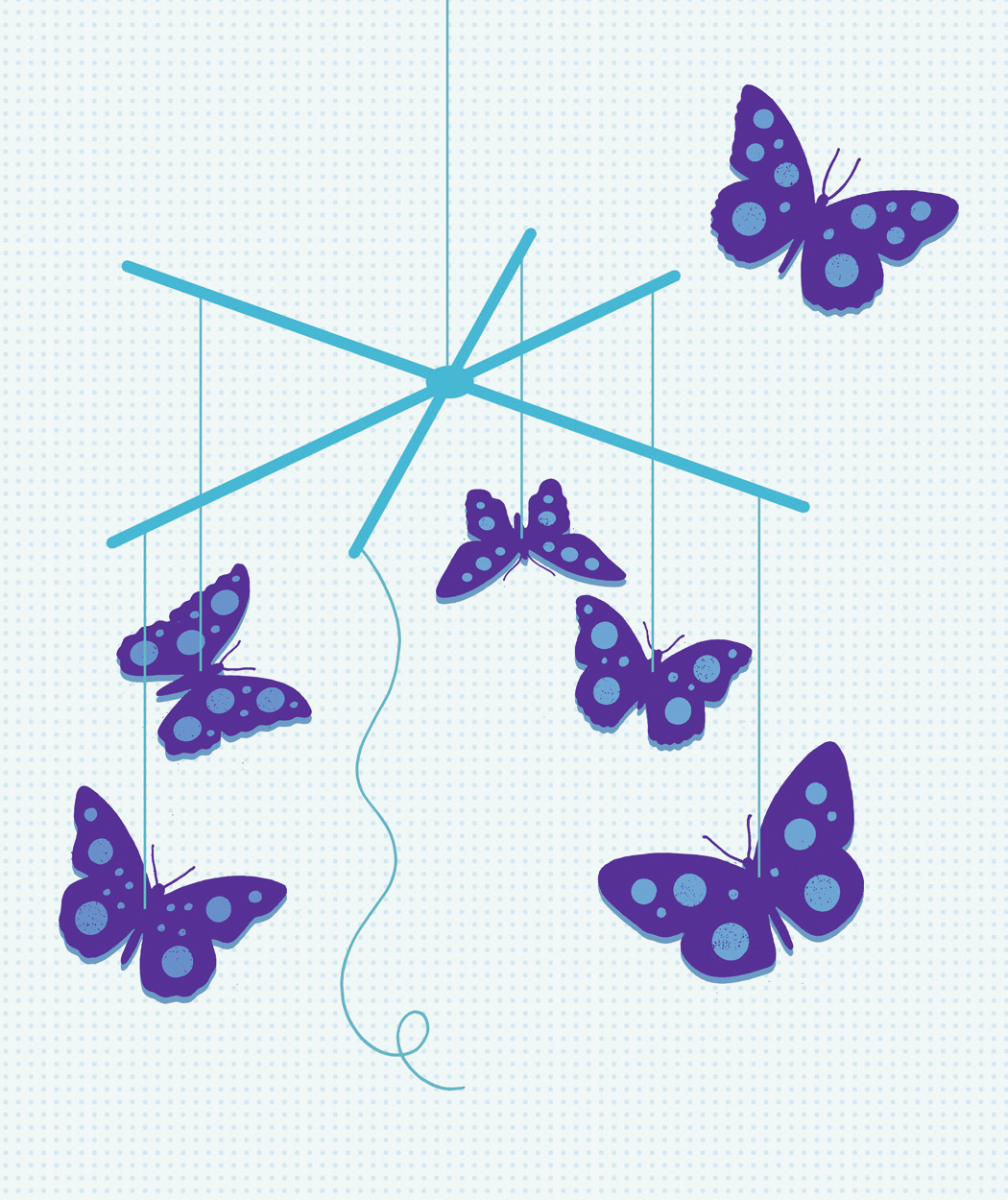 Illustration: Mobile of butterflies, one flying free