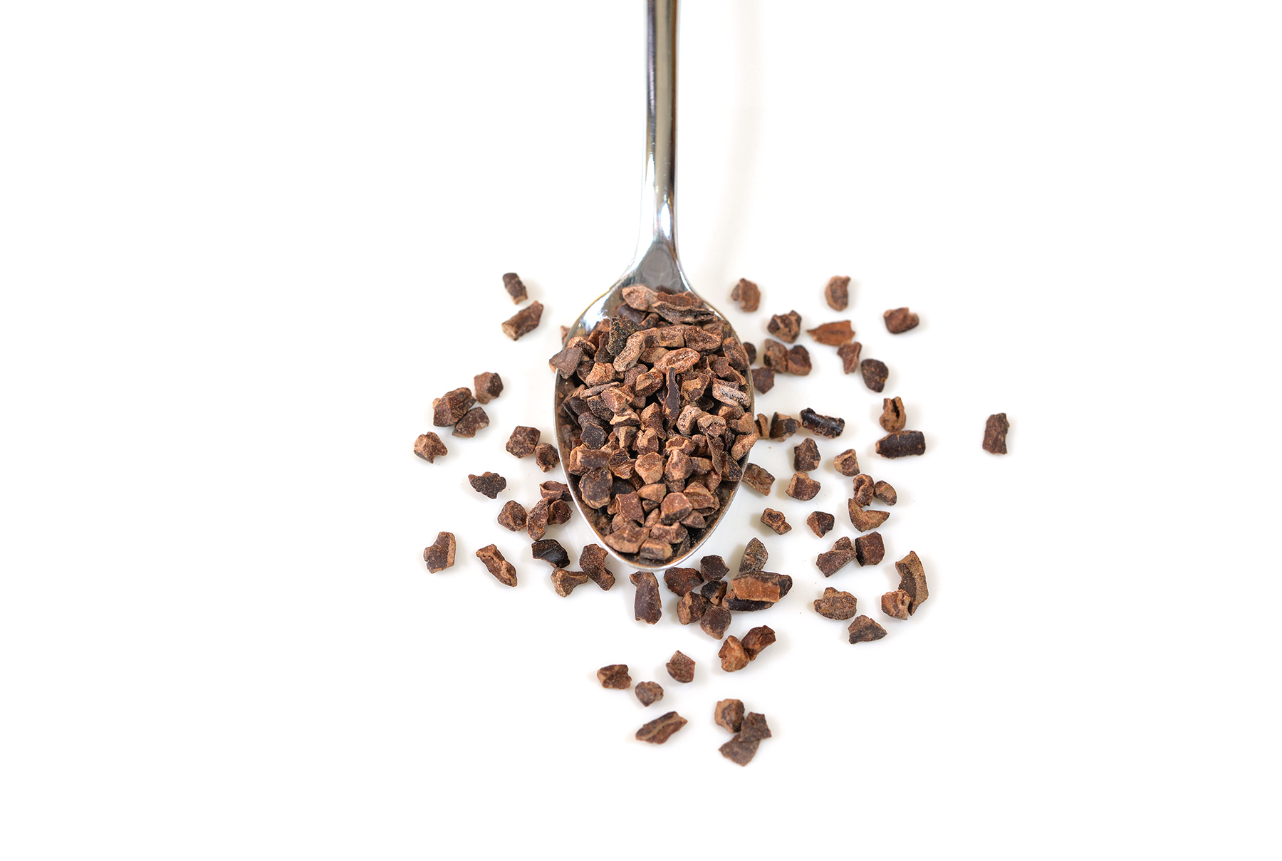 Cacao nibs on spoon