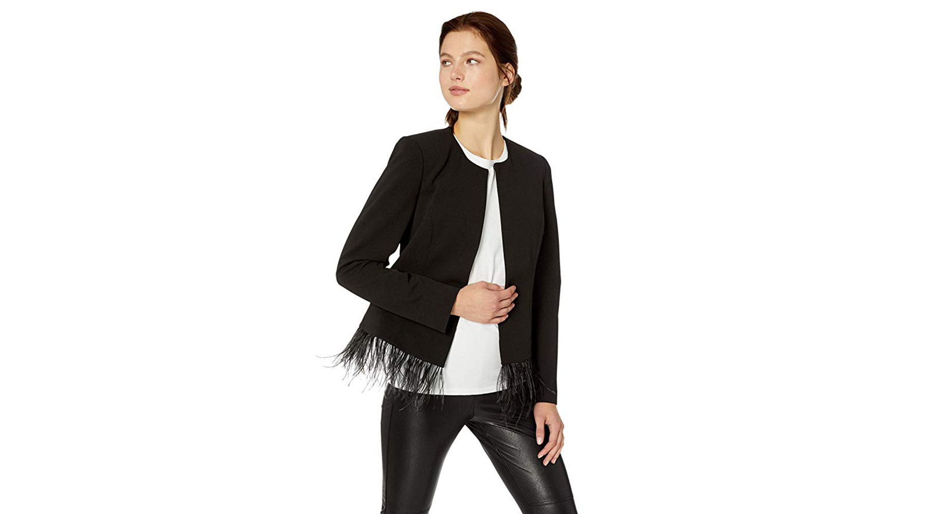 Calvin Klein Women's Open Jacket With Feather Hem