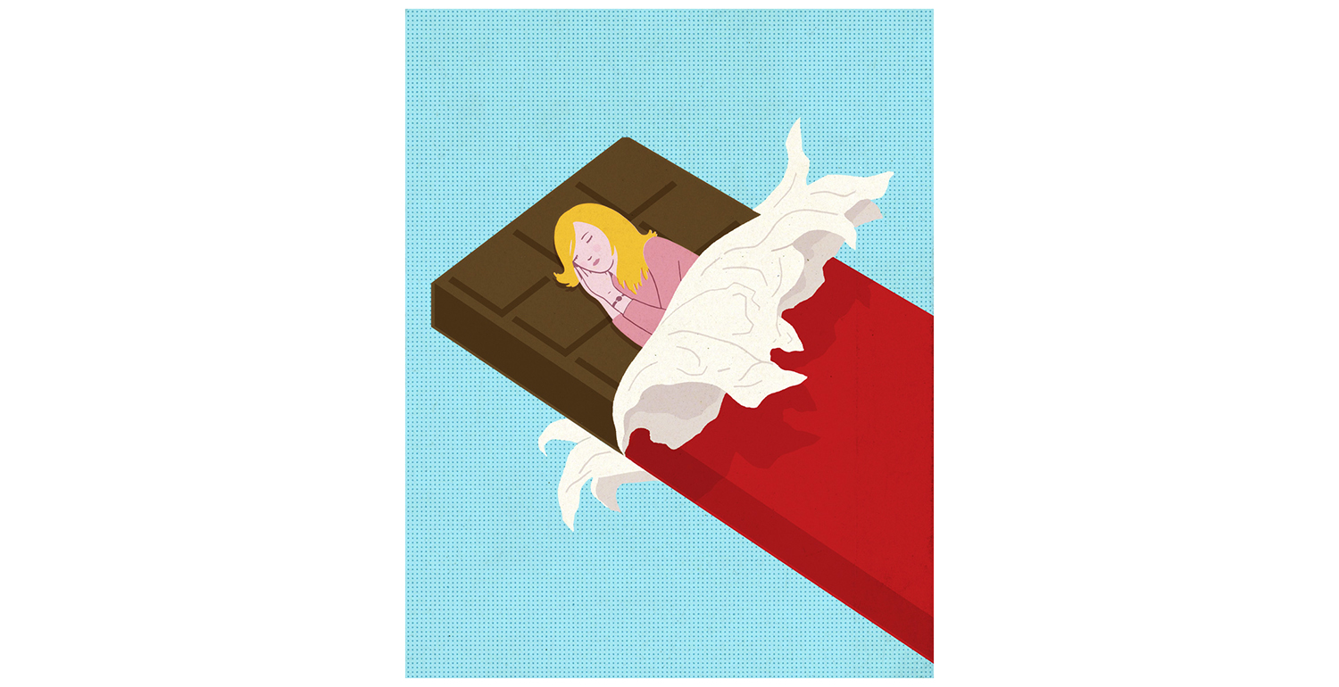 Illustration: woman sleeping on chocolate bar