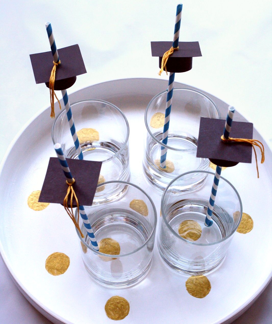 Graduation Cap Straw Toppers