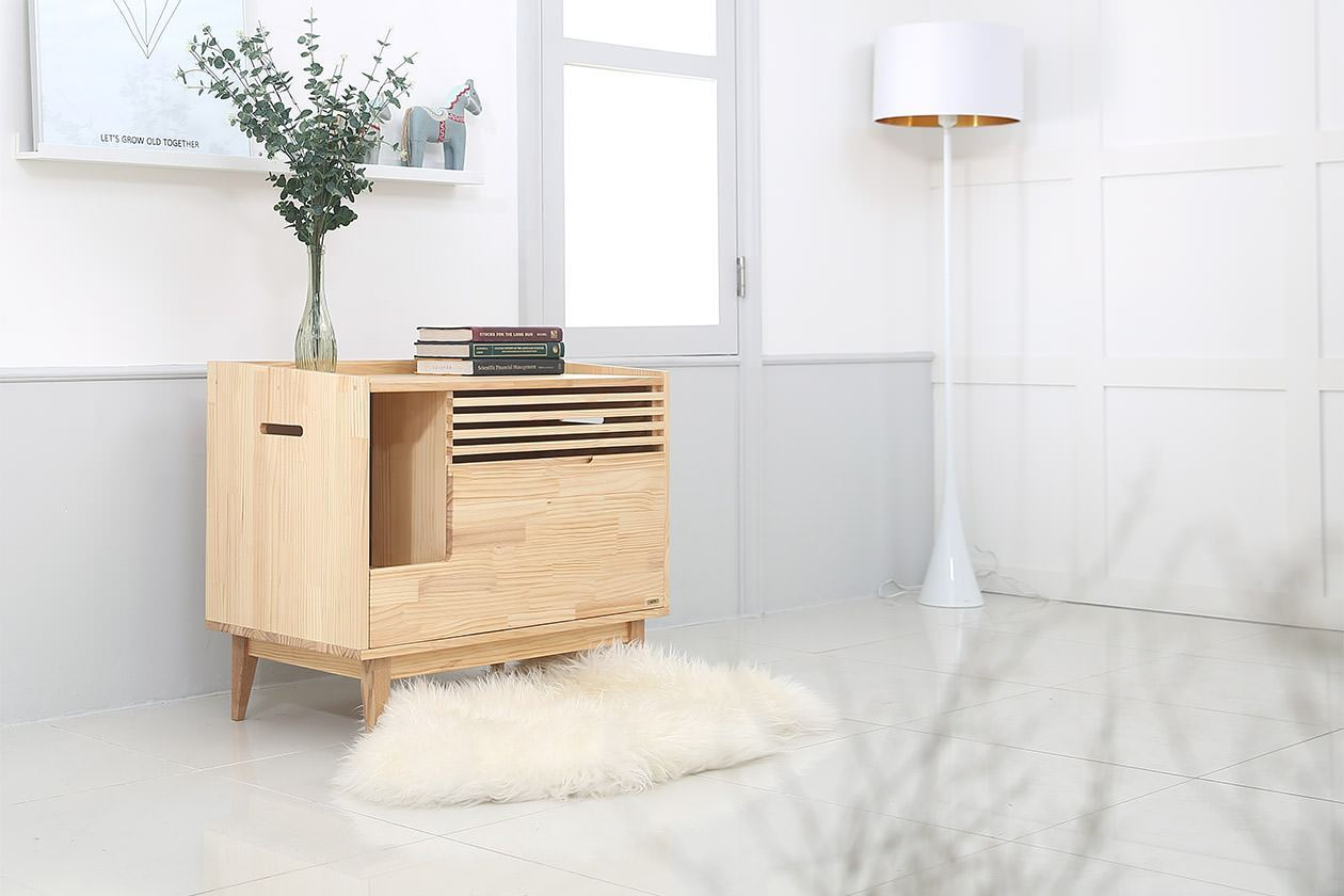 stylish wooden cat litter box