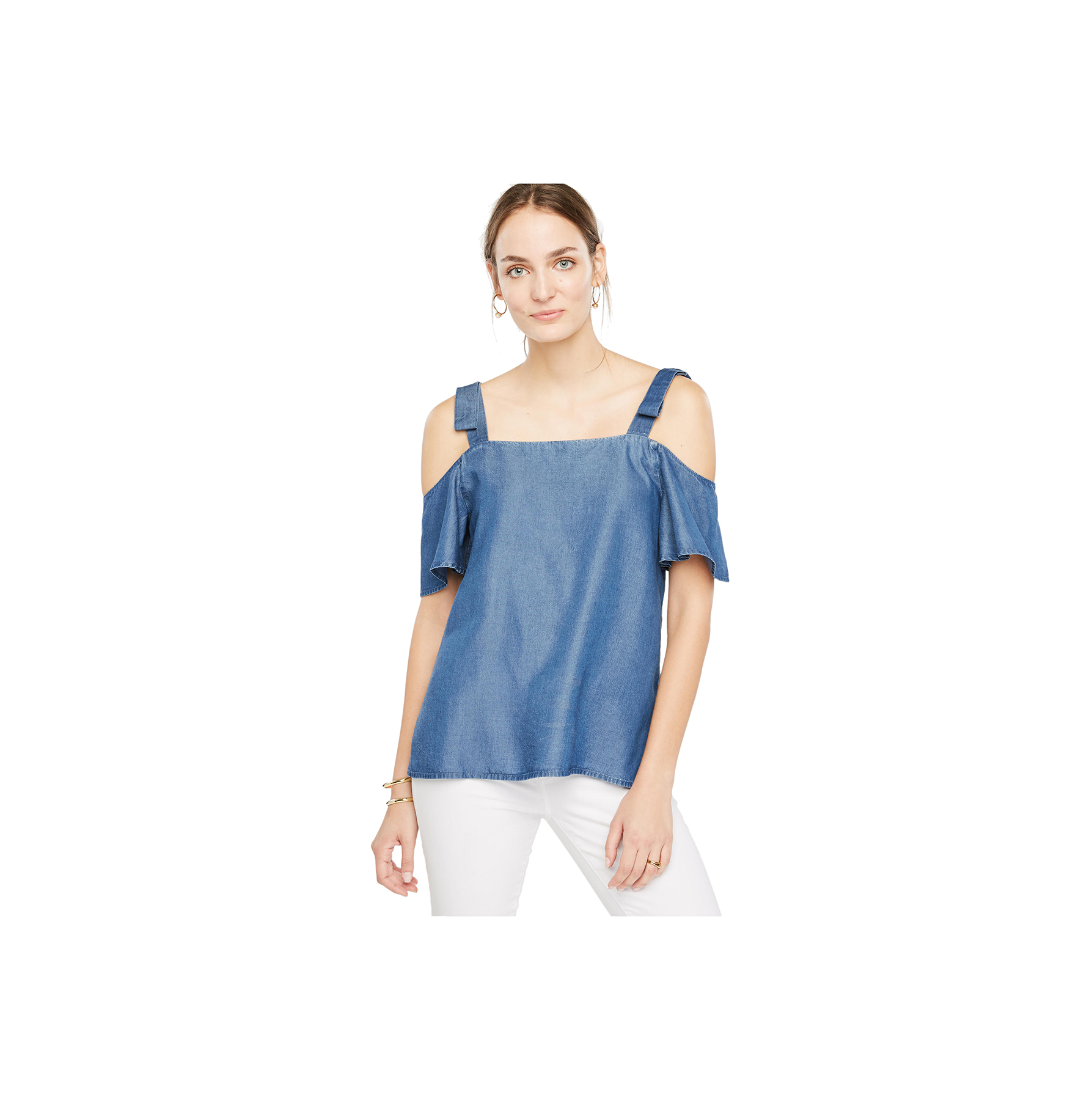 chambray-bow-cold-shoulder-blouse
