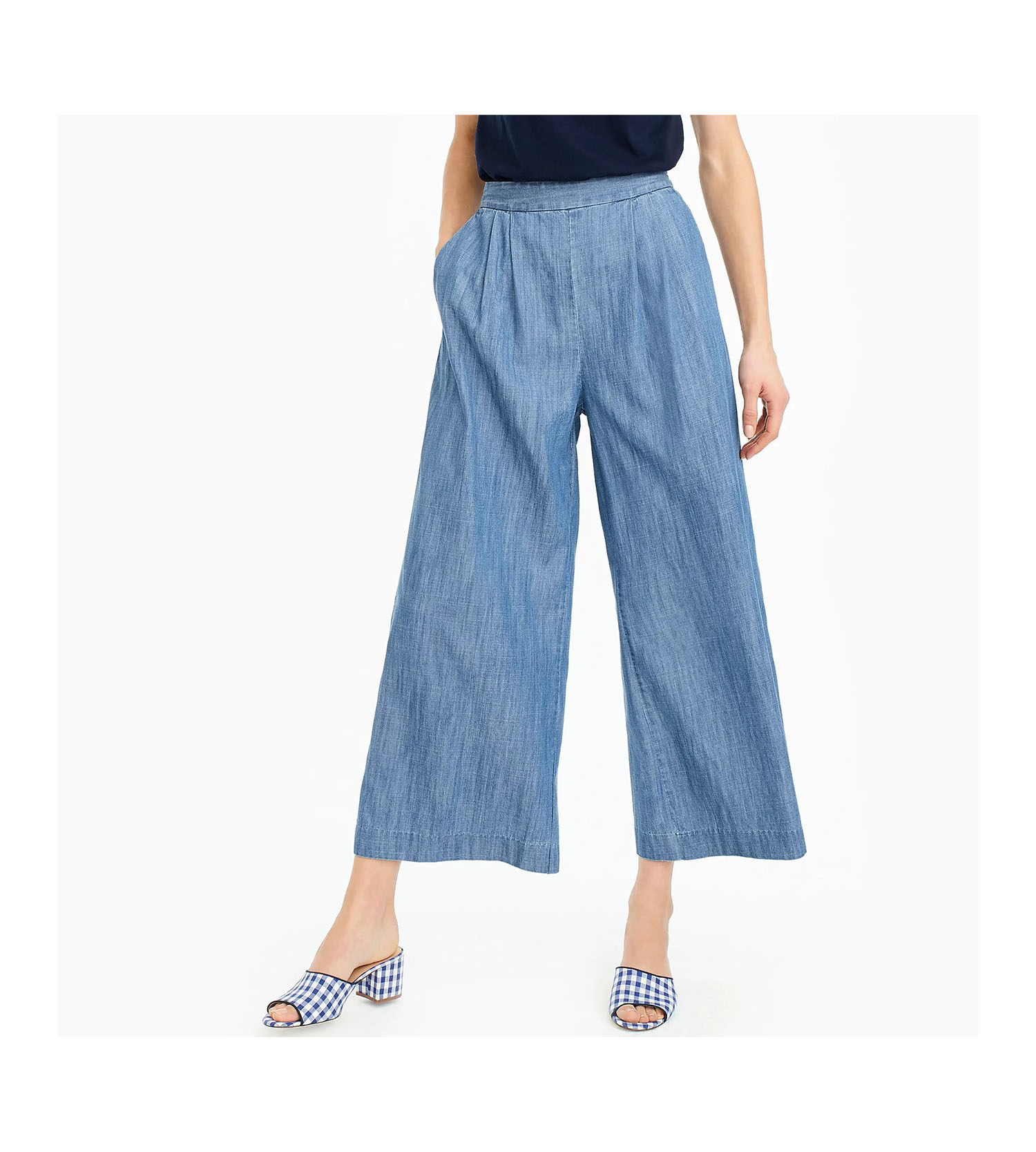 J. Crew Wide-Leg Cropped Chambray Pant