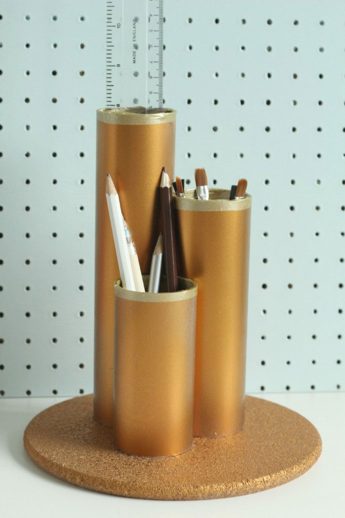 9 clever diy ways to organize your desk real simple Diy pencil holder for desk