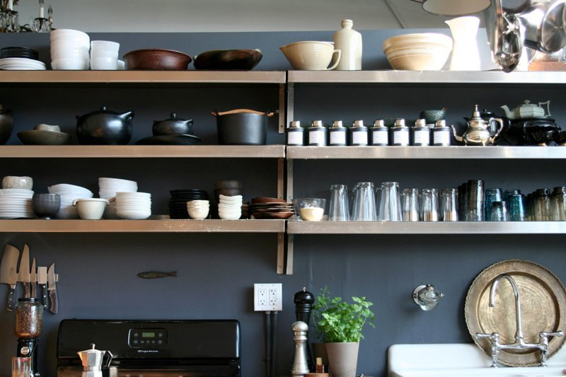 Clear Counter Space by Adding Wall Shelves