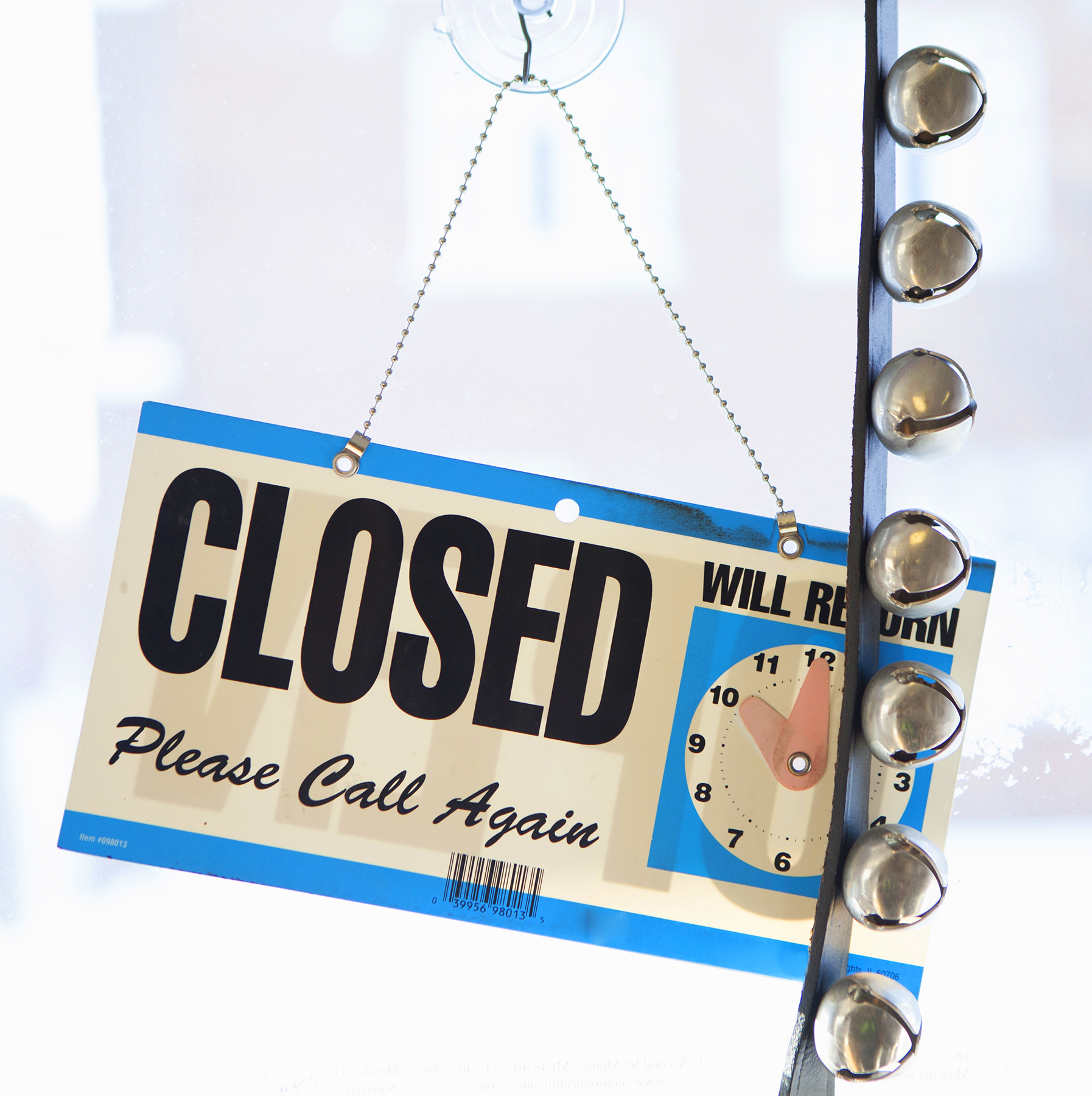 Closed sign at store