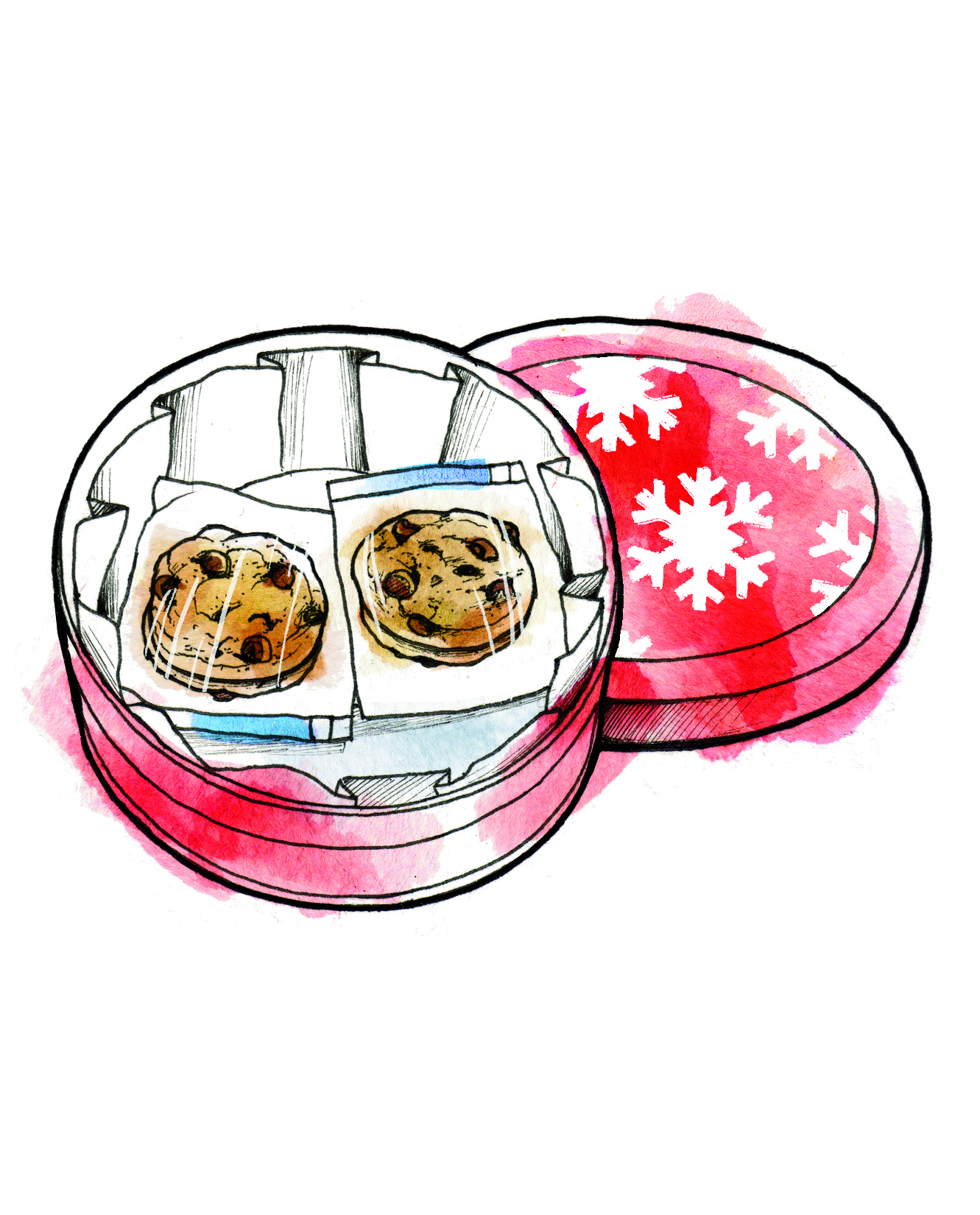 Illustration: cookies in holiday tin