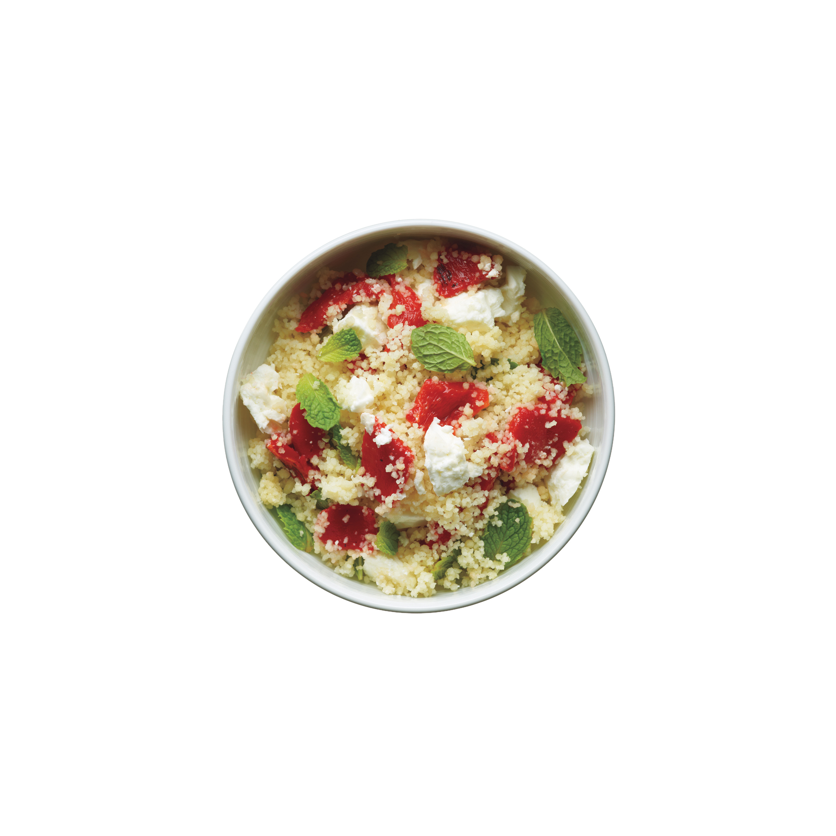 Couscous With Roasted Red Peppers, Feta, and Mint