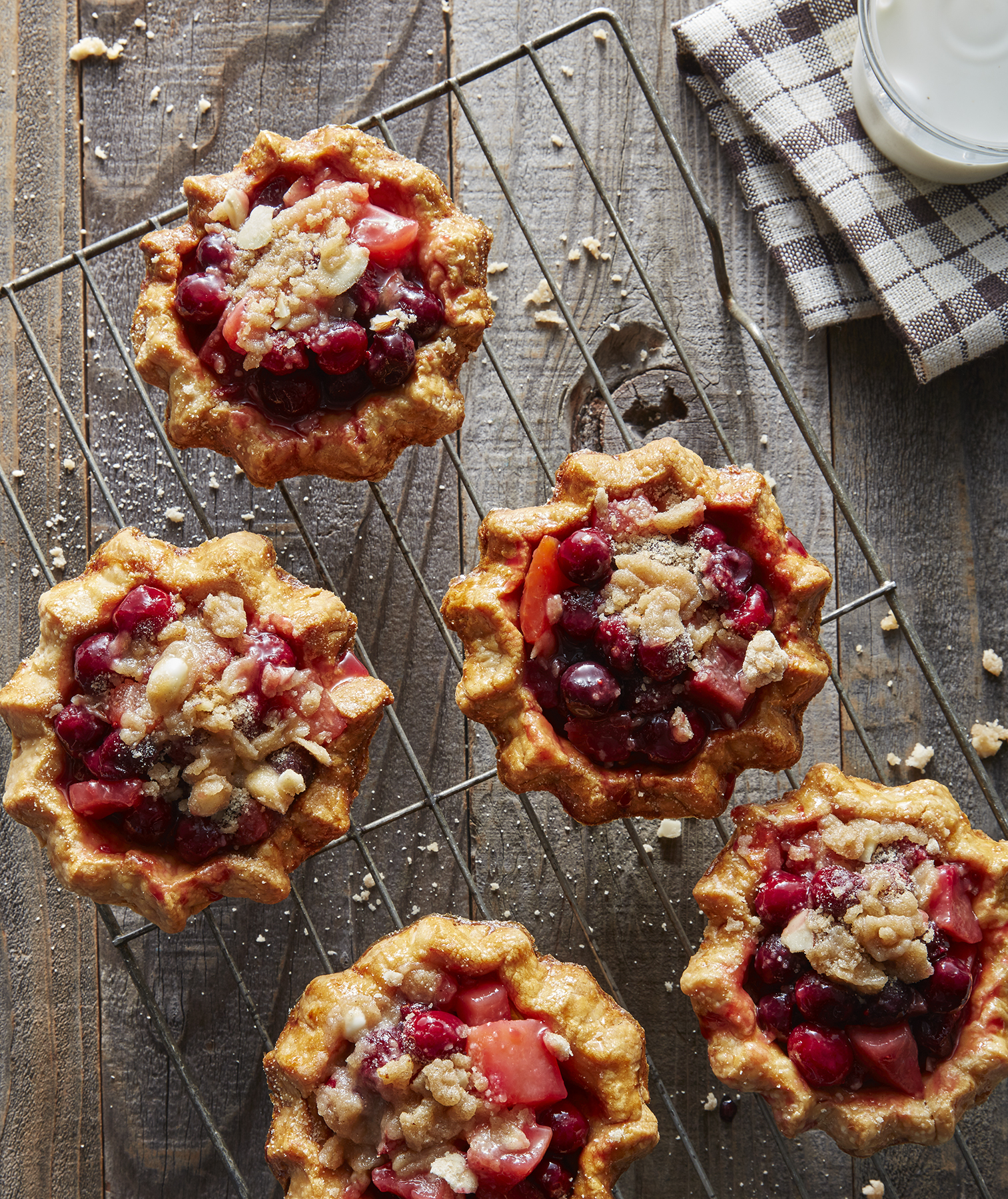 Cranberry-Plum Mini Pies With Crumble Topping