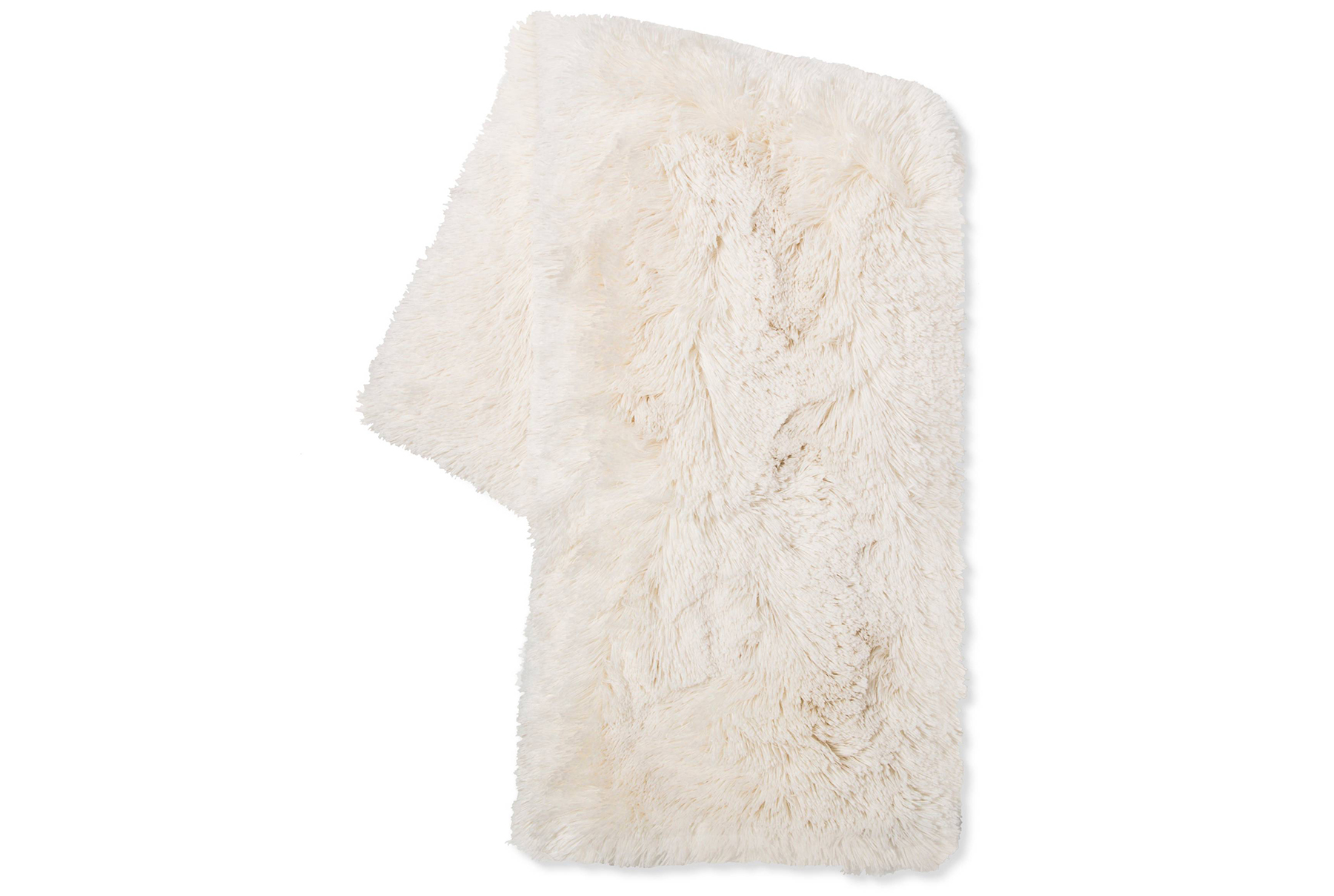 Cream Long Faux Fur Throw