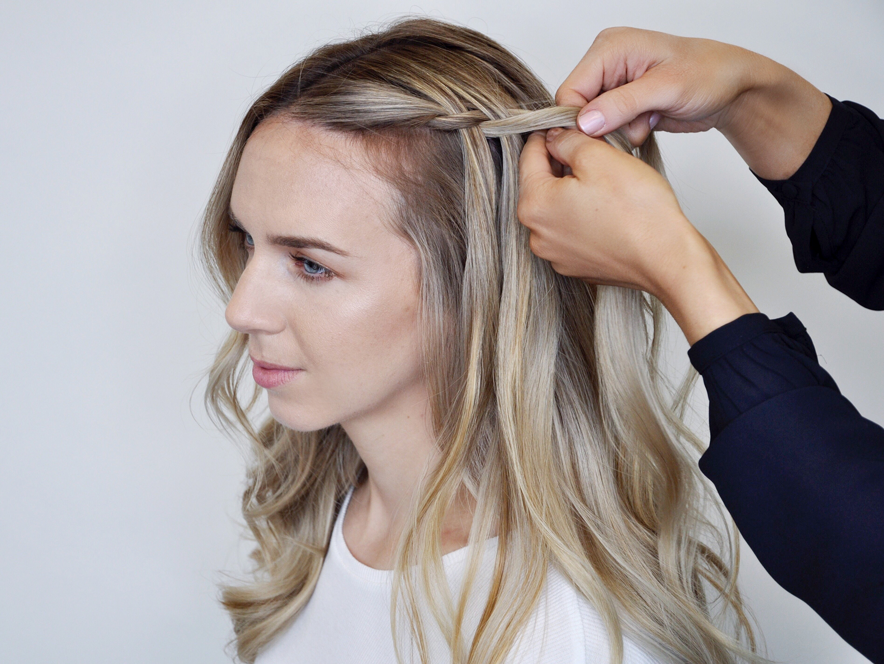Creating a waterfall braid