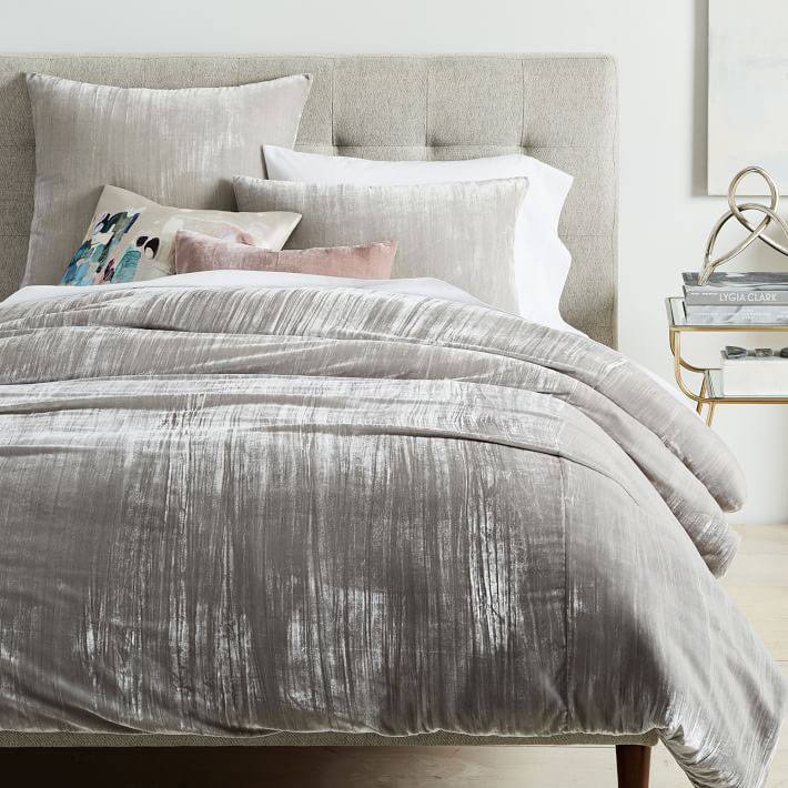 Crinkle Velvet Duvet Cover and Shams