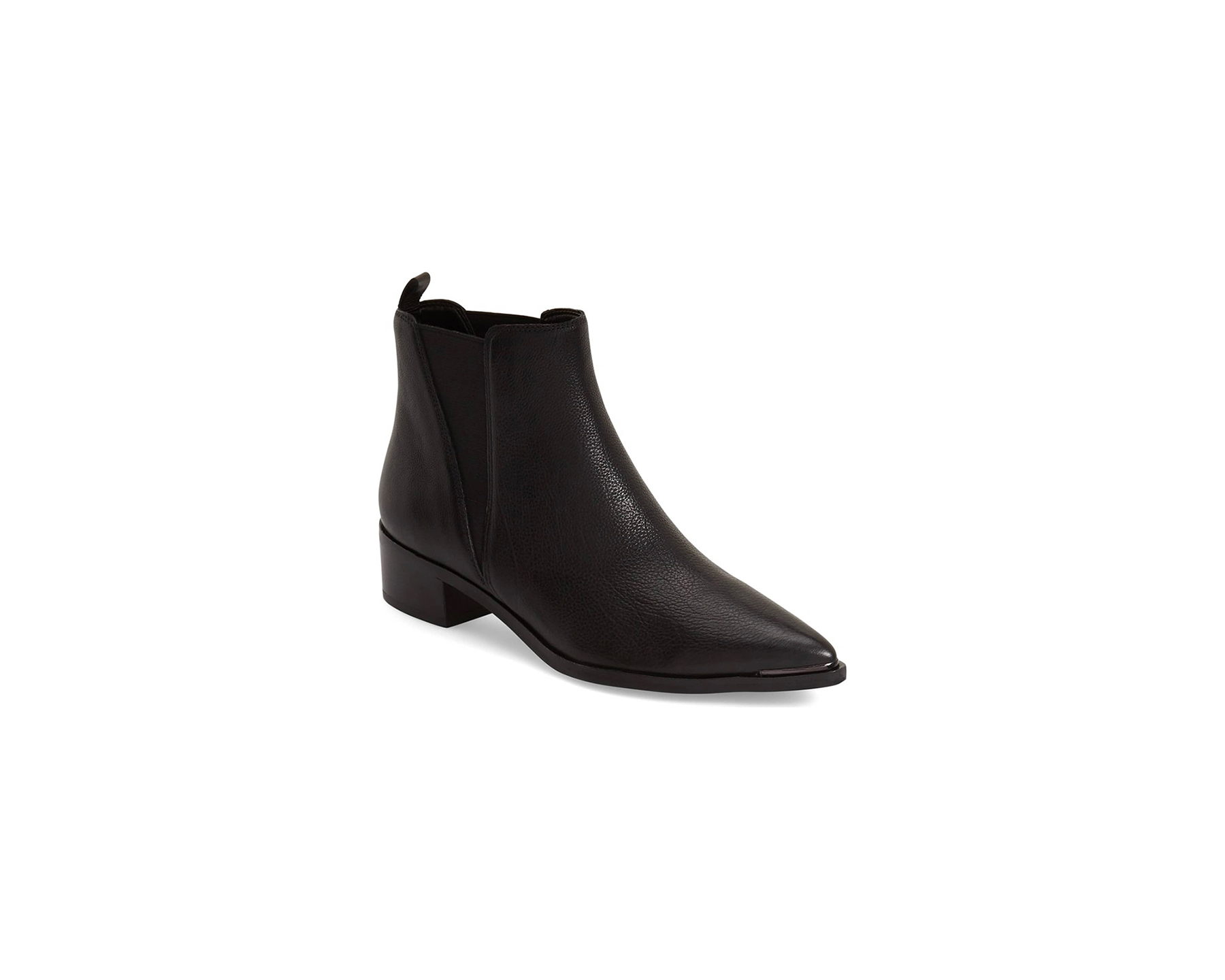 Black Leather Pointy-Toe Booties