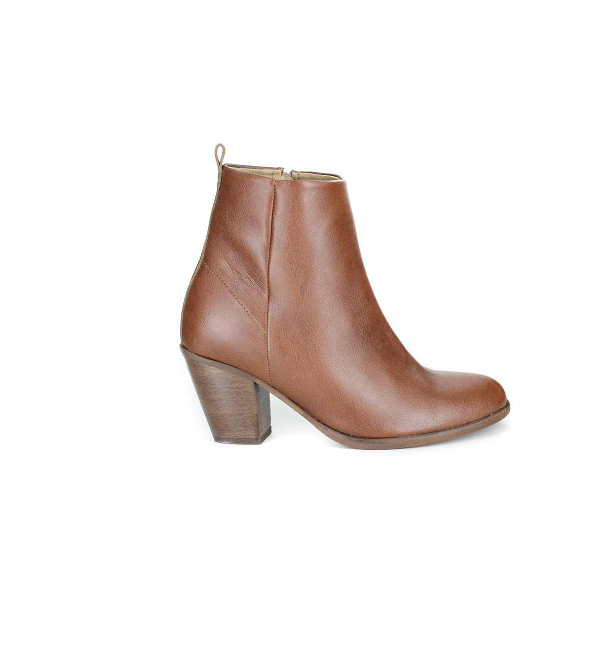 faux leather brown bootie