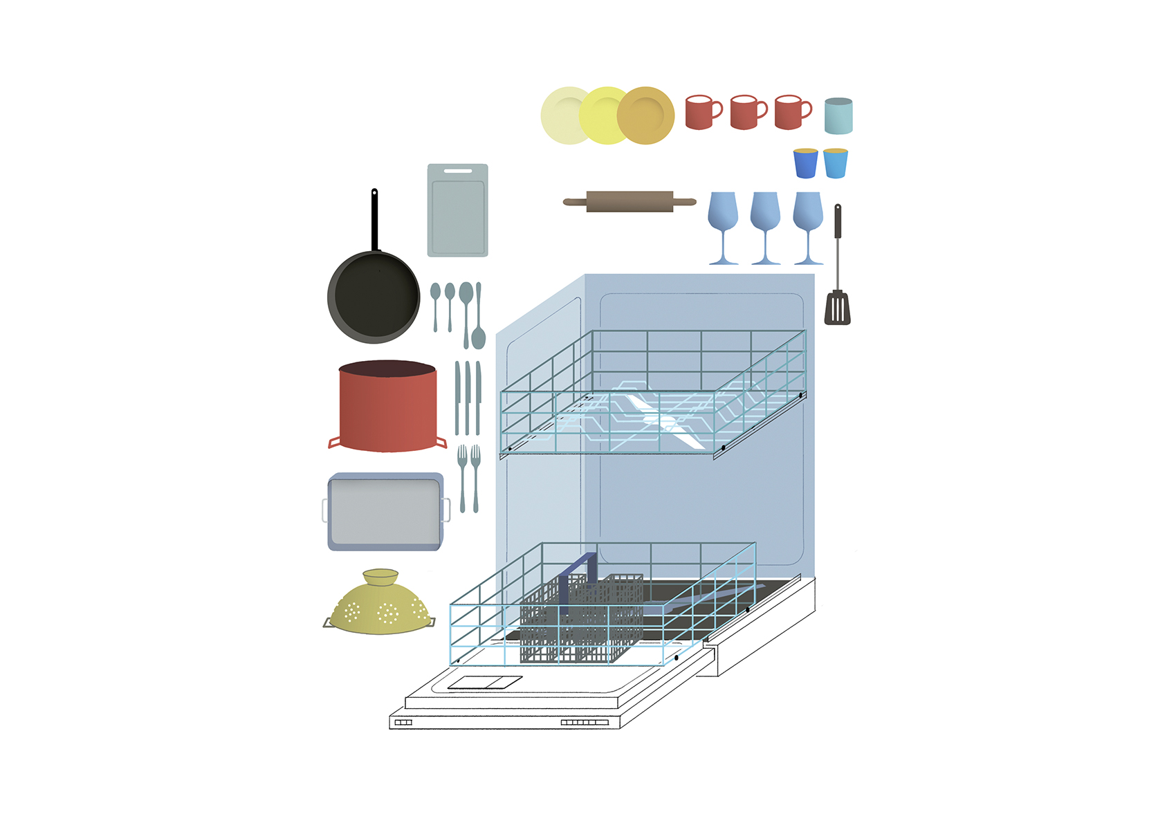 Illustration: Dishwasher and contents