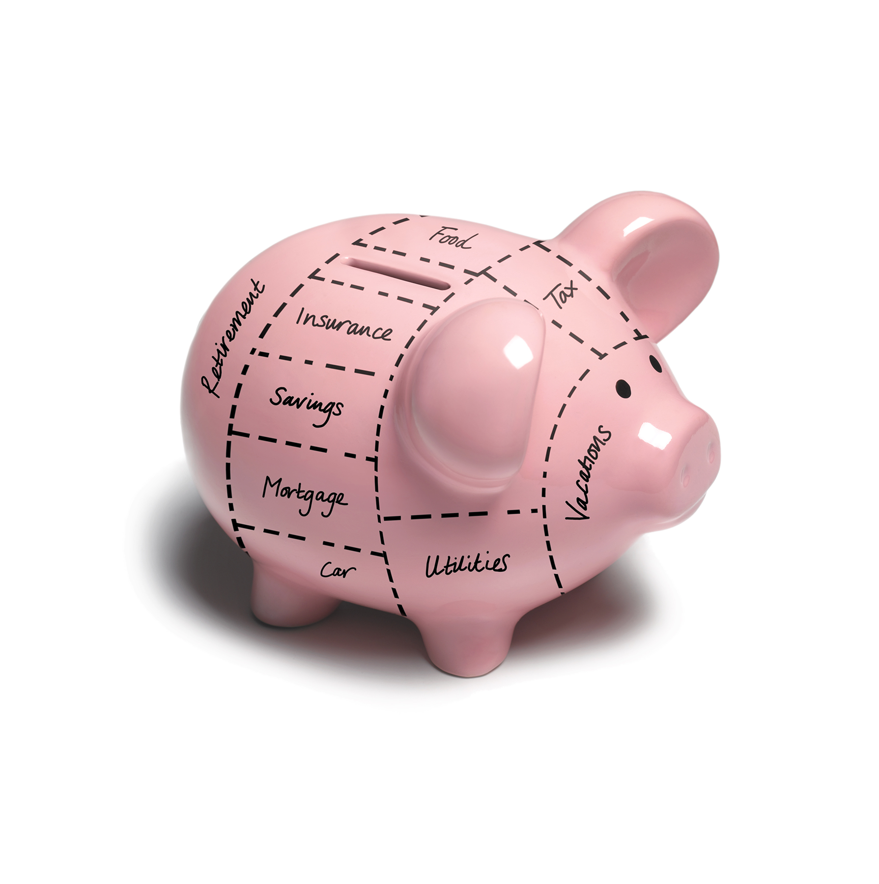 Piggy bank with designated expenses