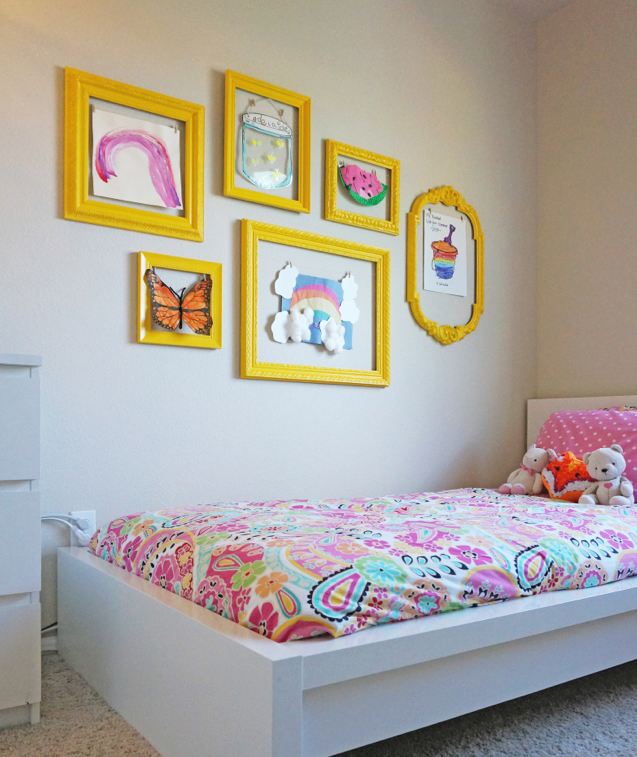 Kids' art with matching frames