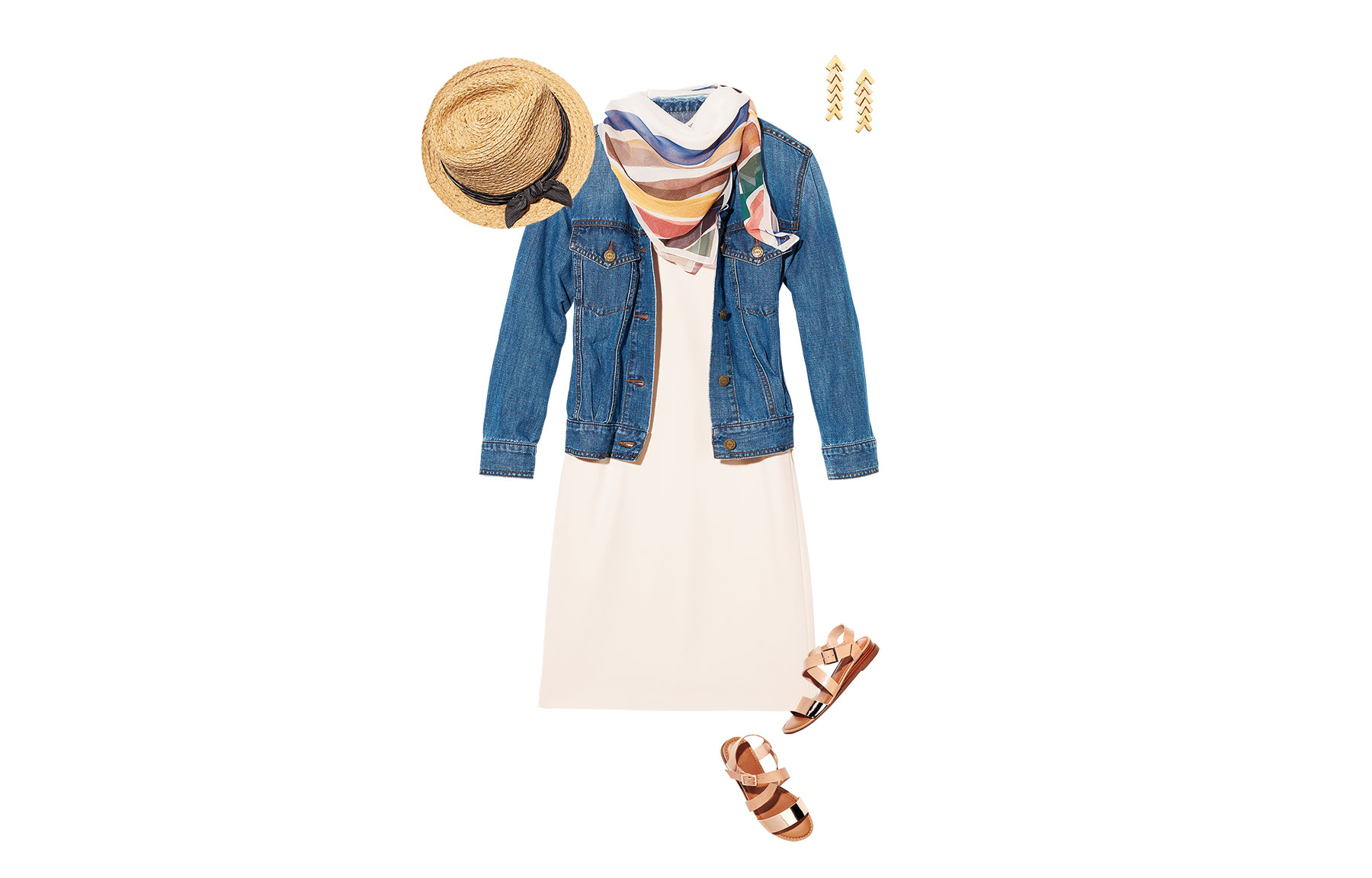 Shift Dress, Jacket and Sandals (0618ESS)