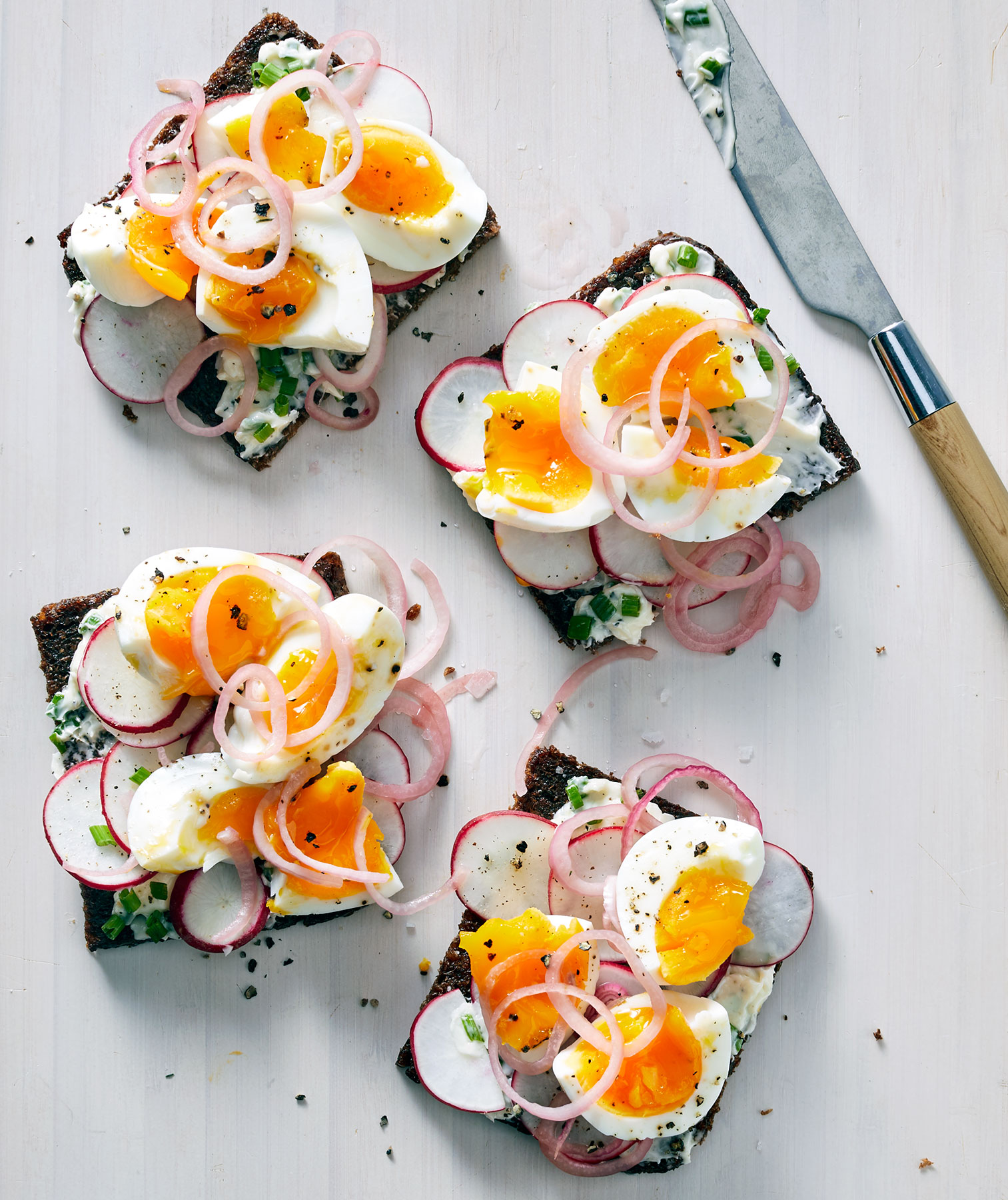 Soft-Boiled Egg and Radish Smørrebrød