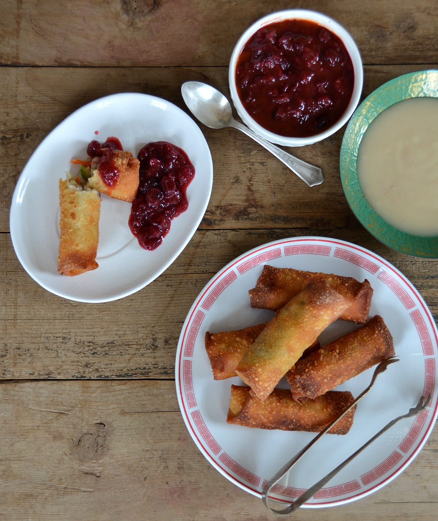 Thanksgiving Egg Rolls With Spicy Cranberry Dipping Sauce