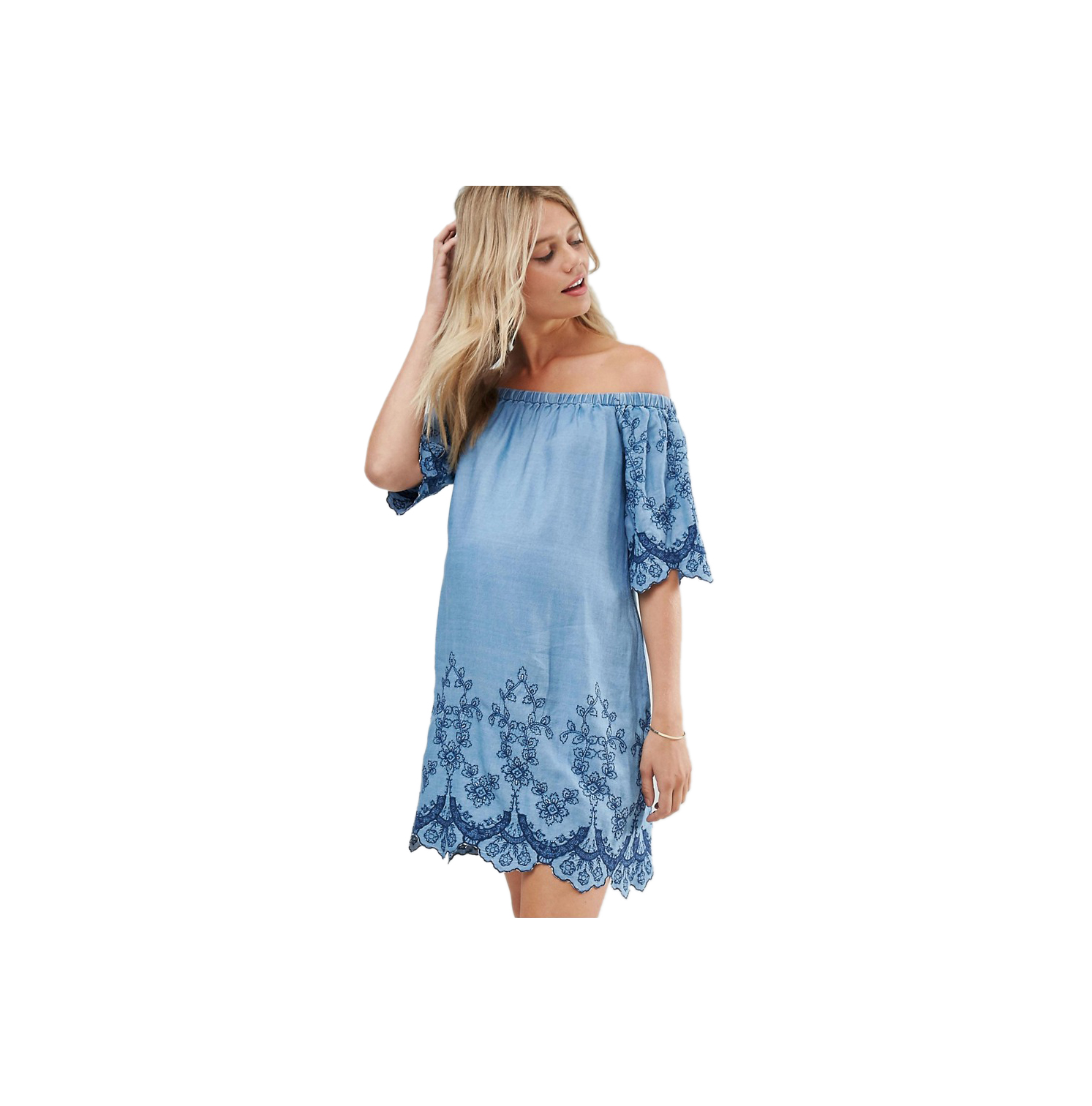 New Look Maternity Embroidered Off Shoulder Dress