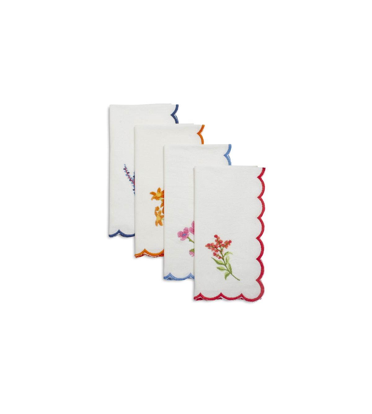 Embroidered Floral Scallop Napkins