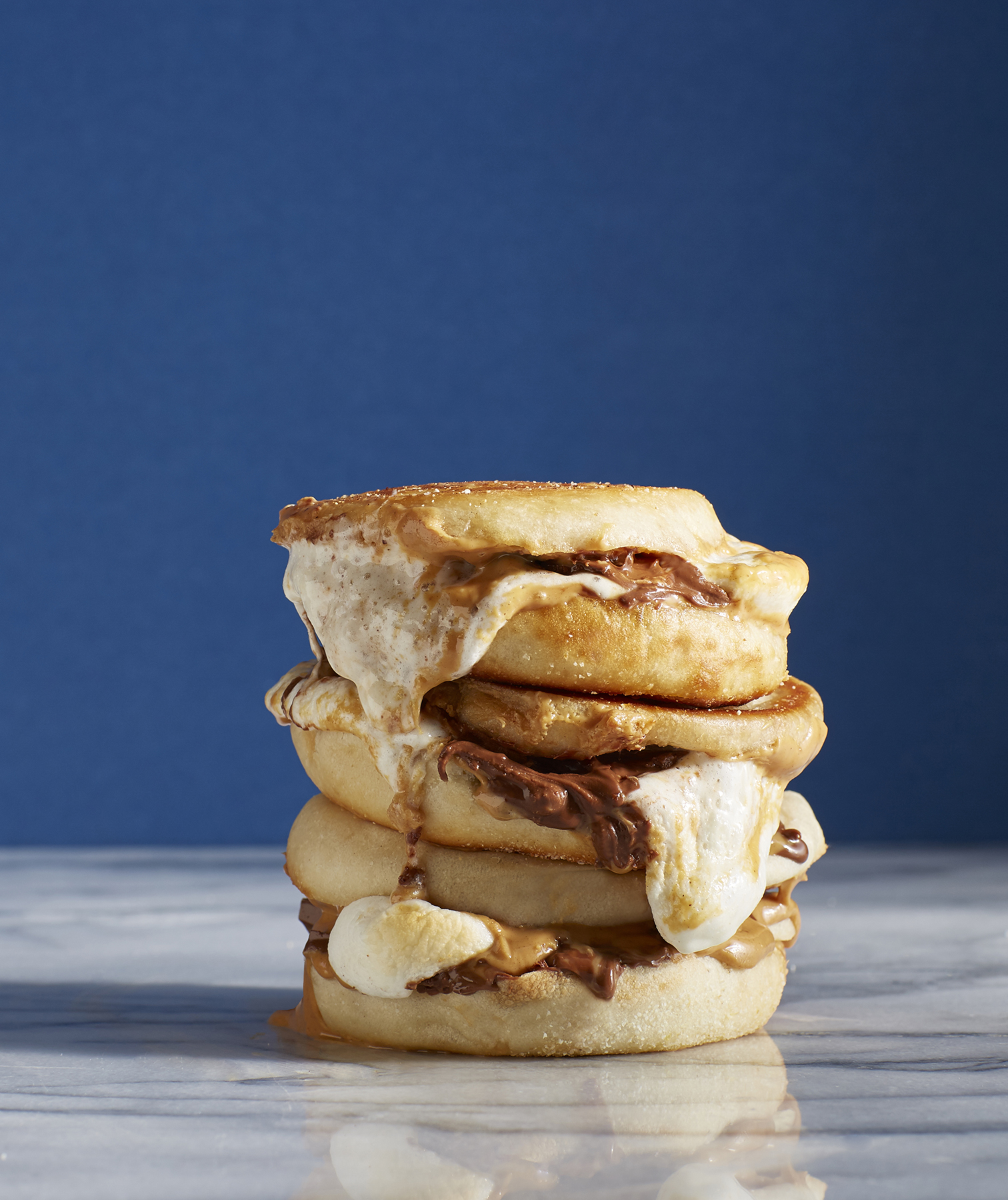 Peanut Butter Cup S'mores English Muffin Panini