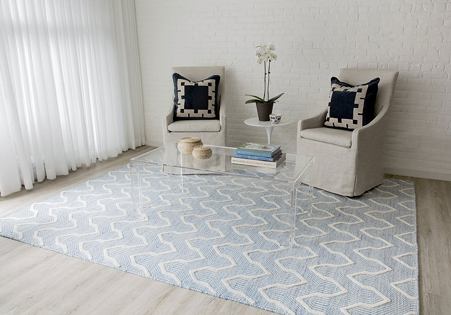 Erin Gates blue patterned rug