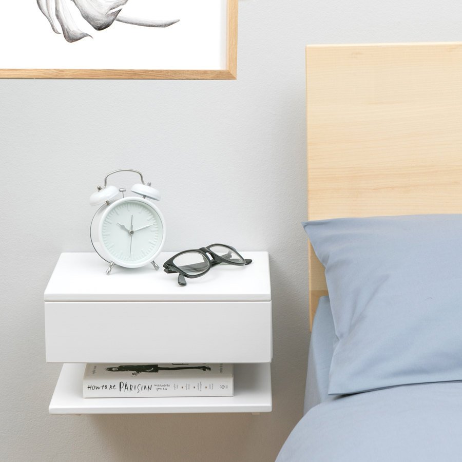 Etsy Buy White Floating Shelf next to bed