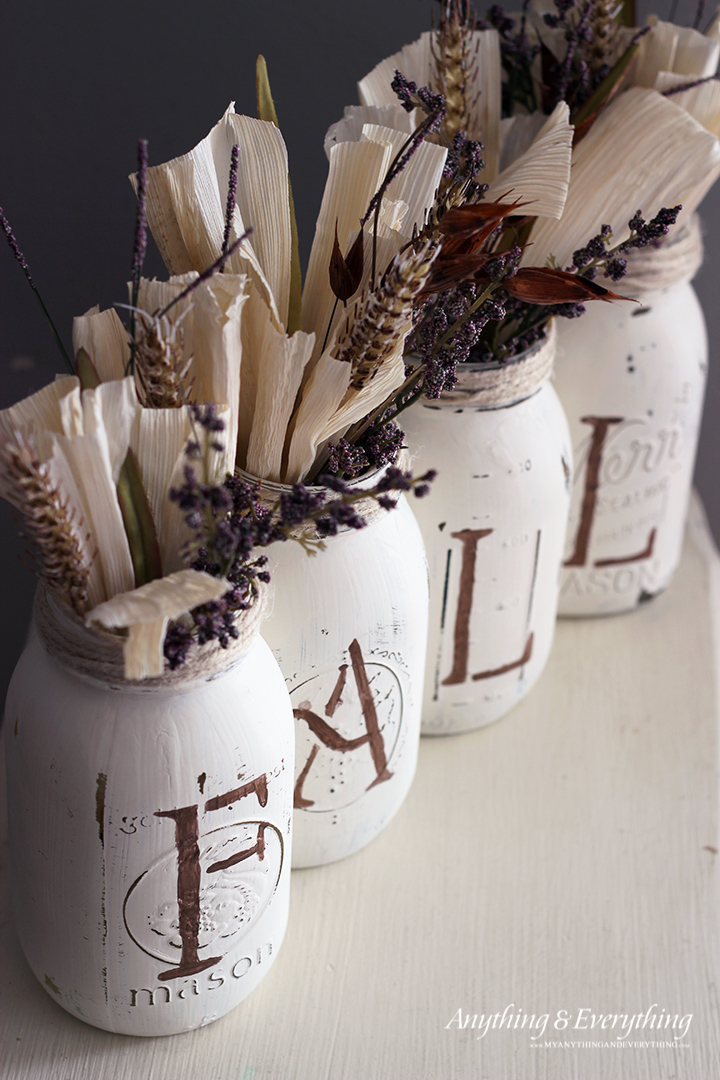 Mason Jar Vases with Corn Husks