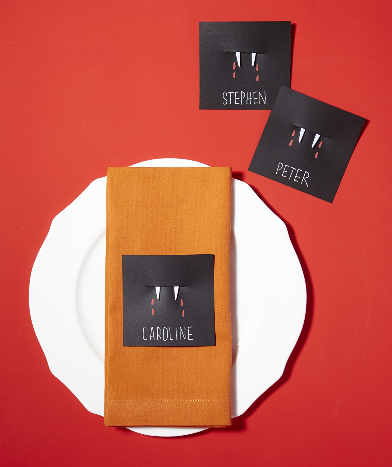 Plastic Fork + Cardstock = Fangs Place Card