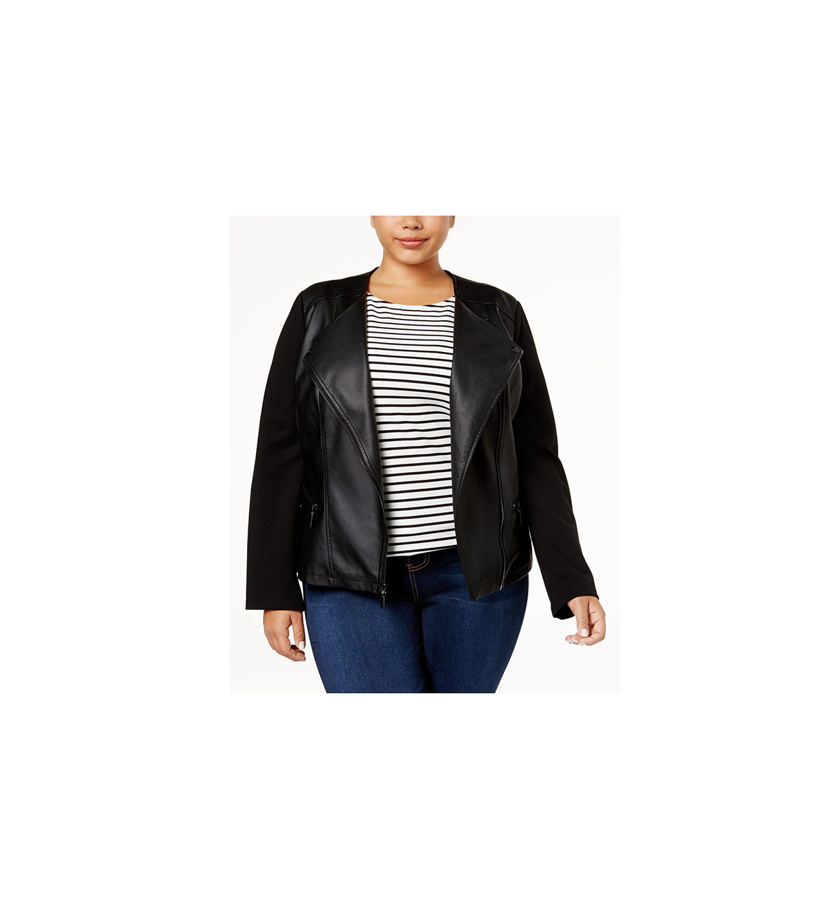 Alfani Plus Size Faux-Leather Contrast Jacket