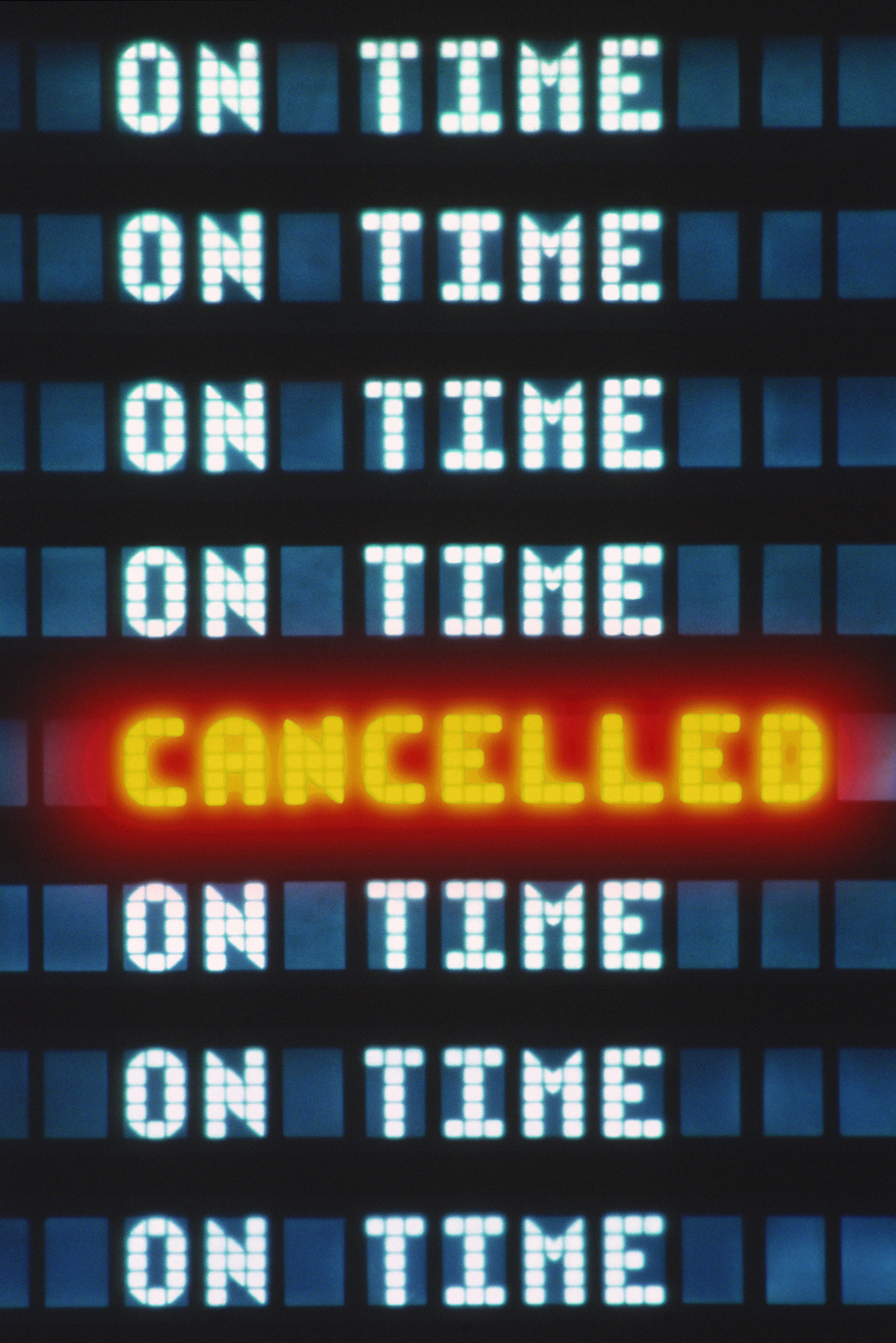 Flight cancelled display at airport