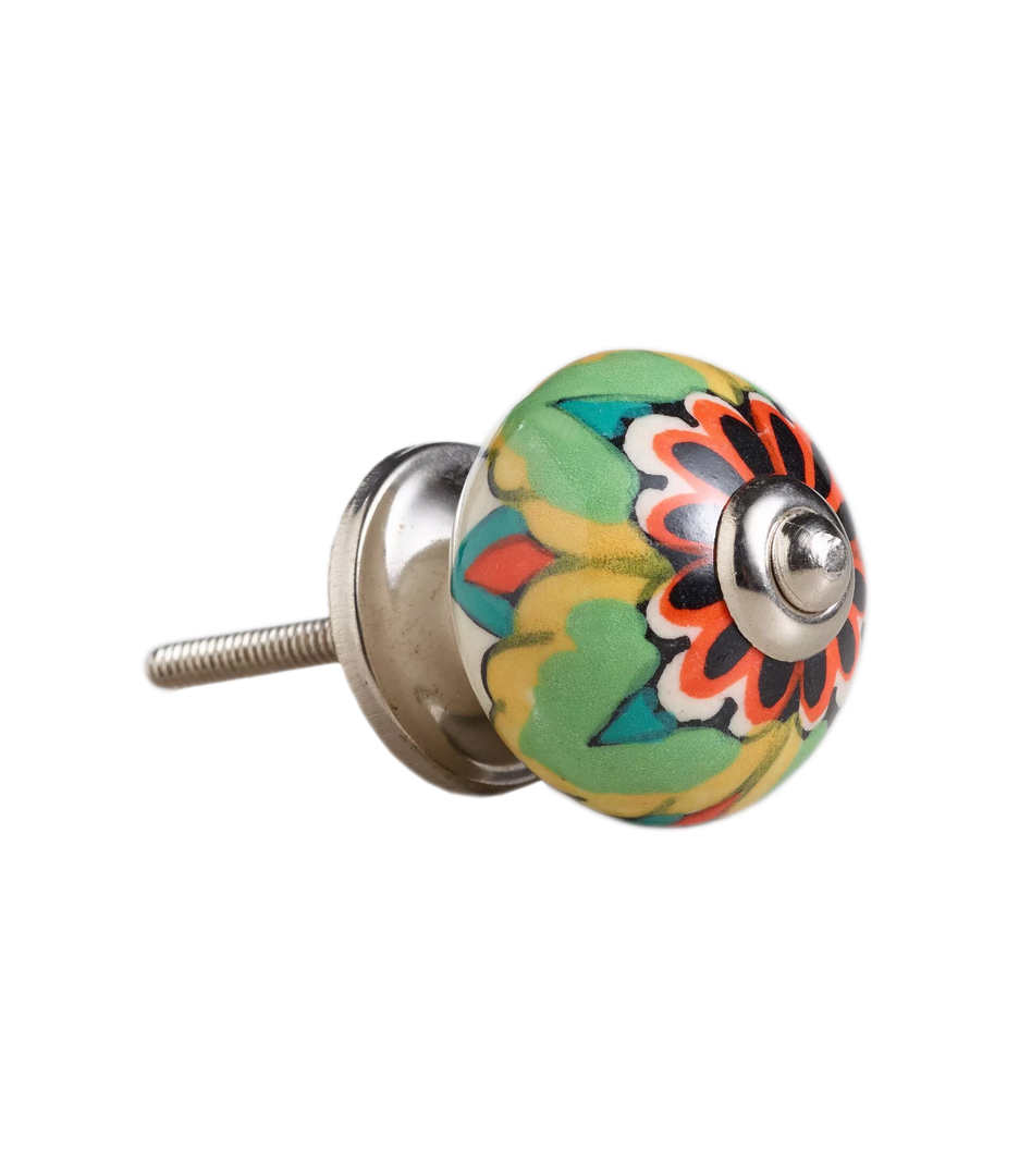 Multicolored Floral Ceramic Knobs