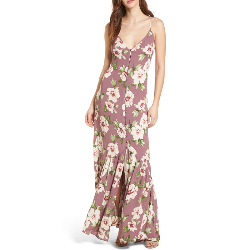 BP. Floral Button Front Maxi Dress