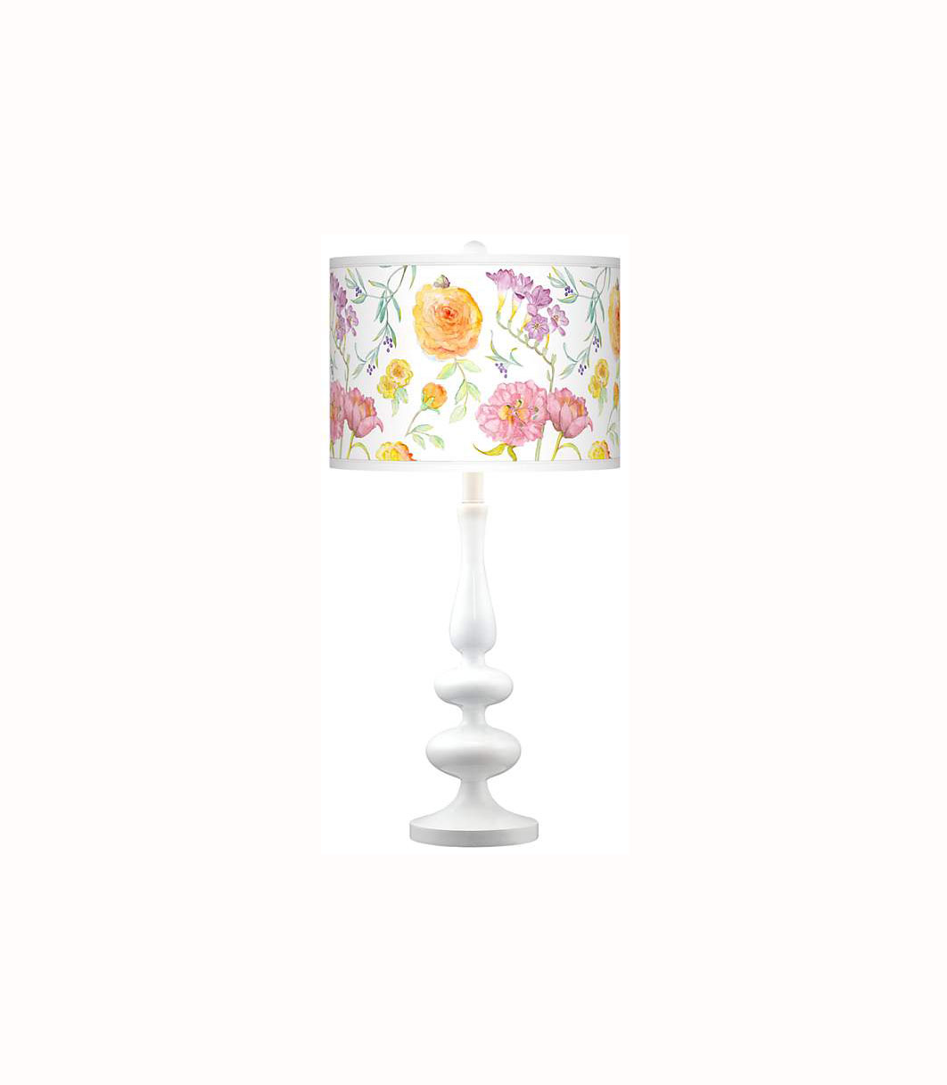 Spring Garden Giclee Paley White Table Lamp