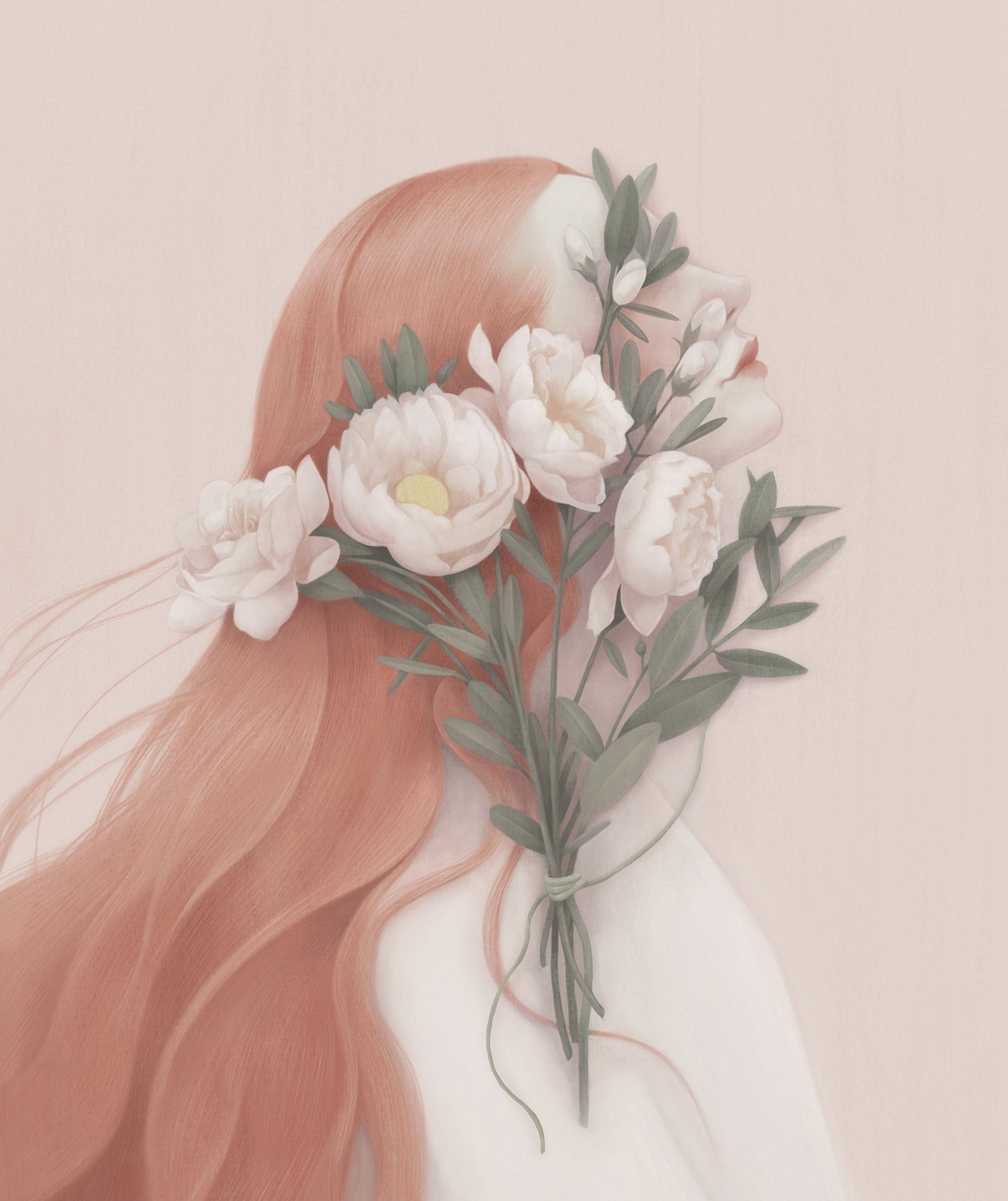 Illustration: woman with flowers in her face