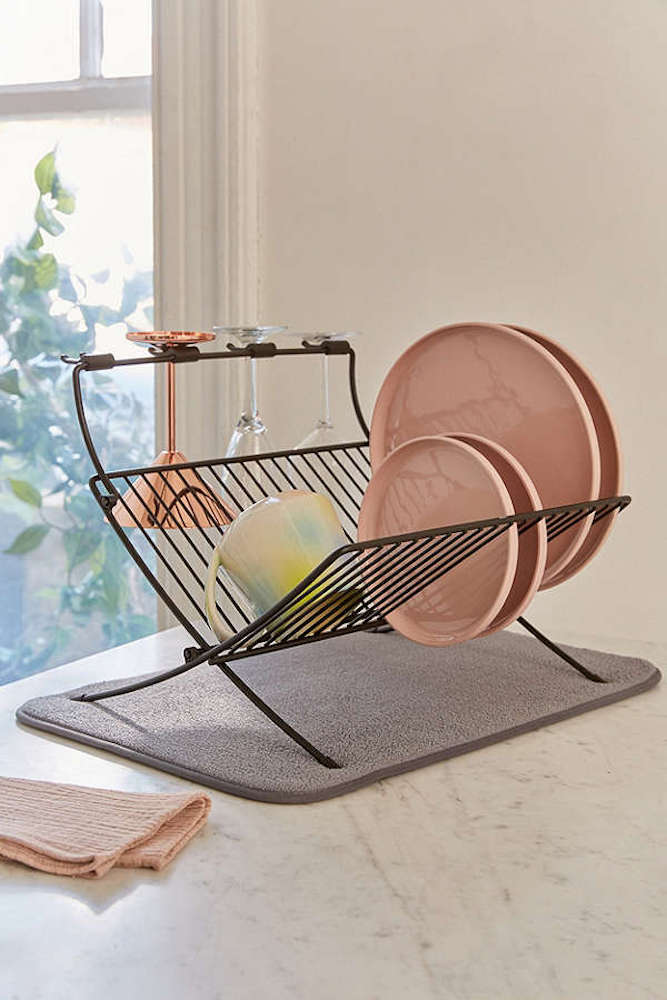 Folding Dish Rack with pink plates in kitchen