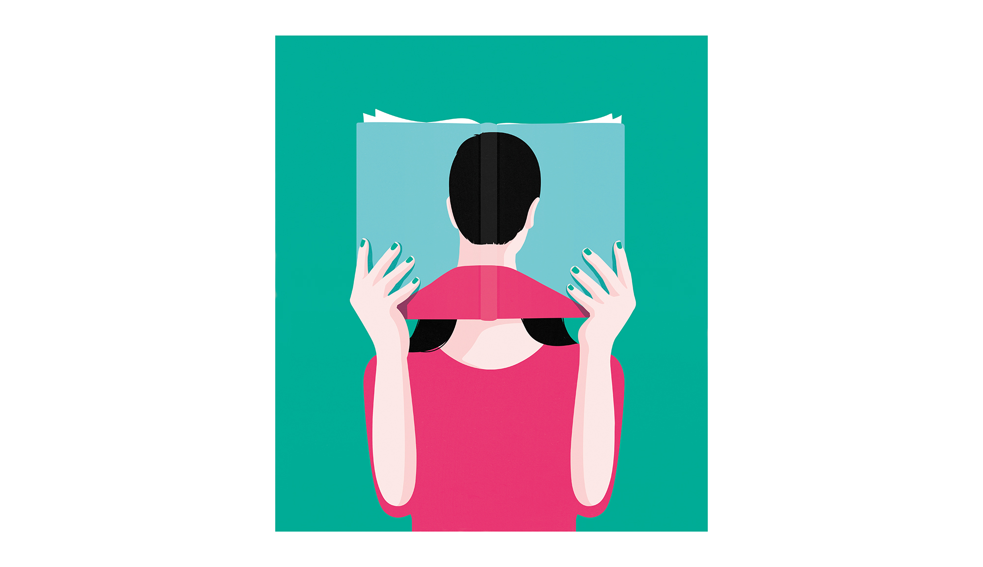 Illustration: woman reading book showing back of man's head