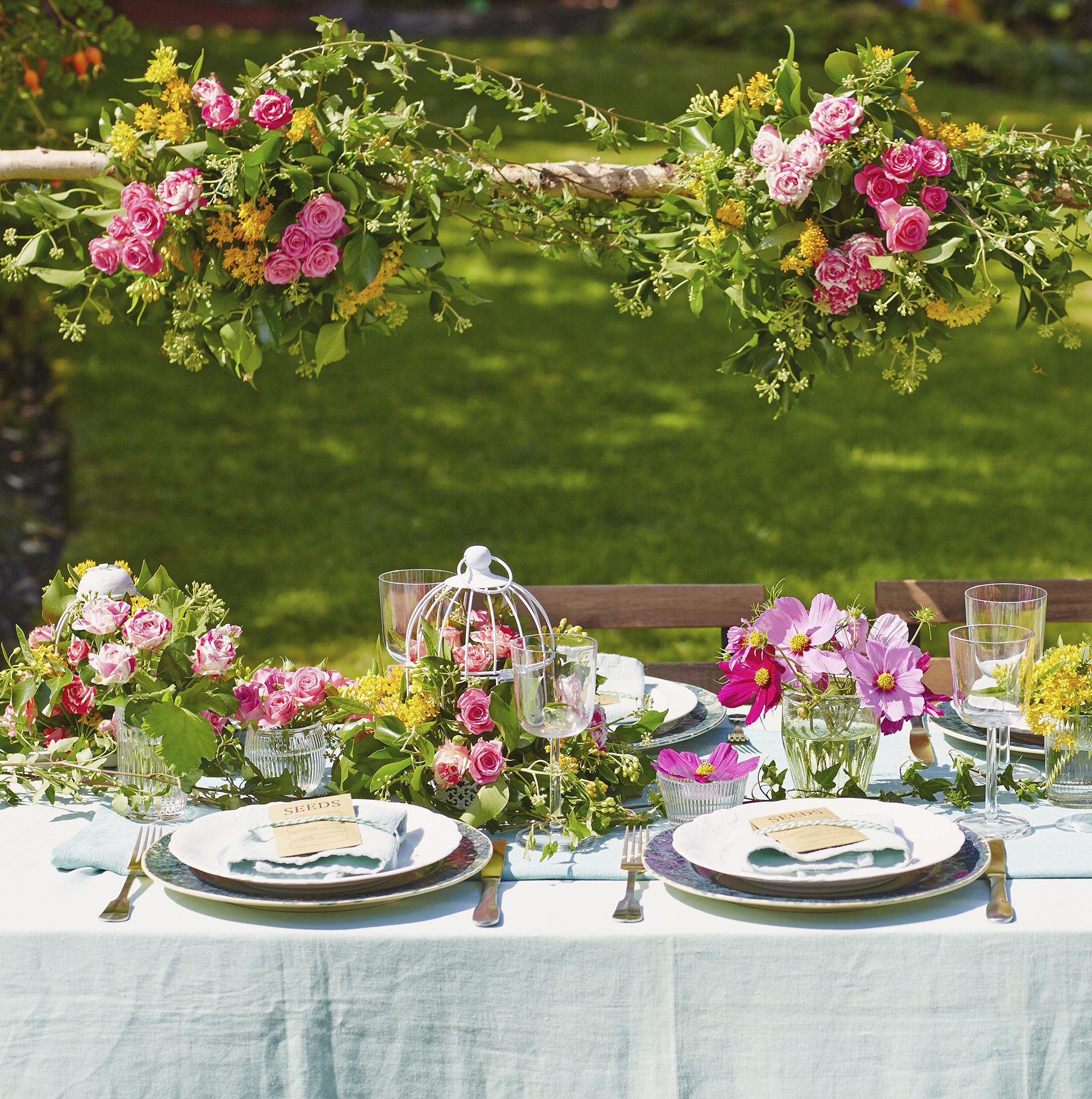 garden party with flowers