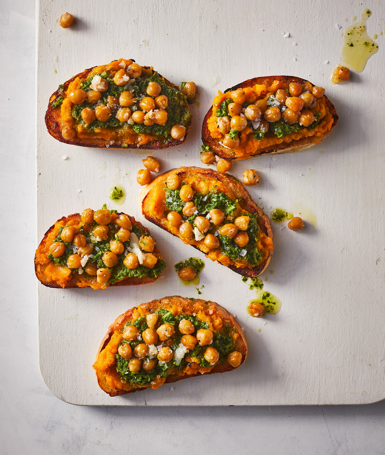 Garlic Toast With Squash, Pesto, and Olive-Oil Braised Chickpeas (1018FOO)
