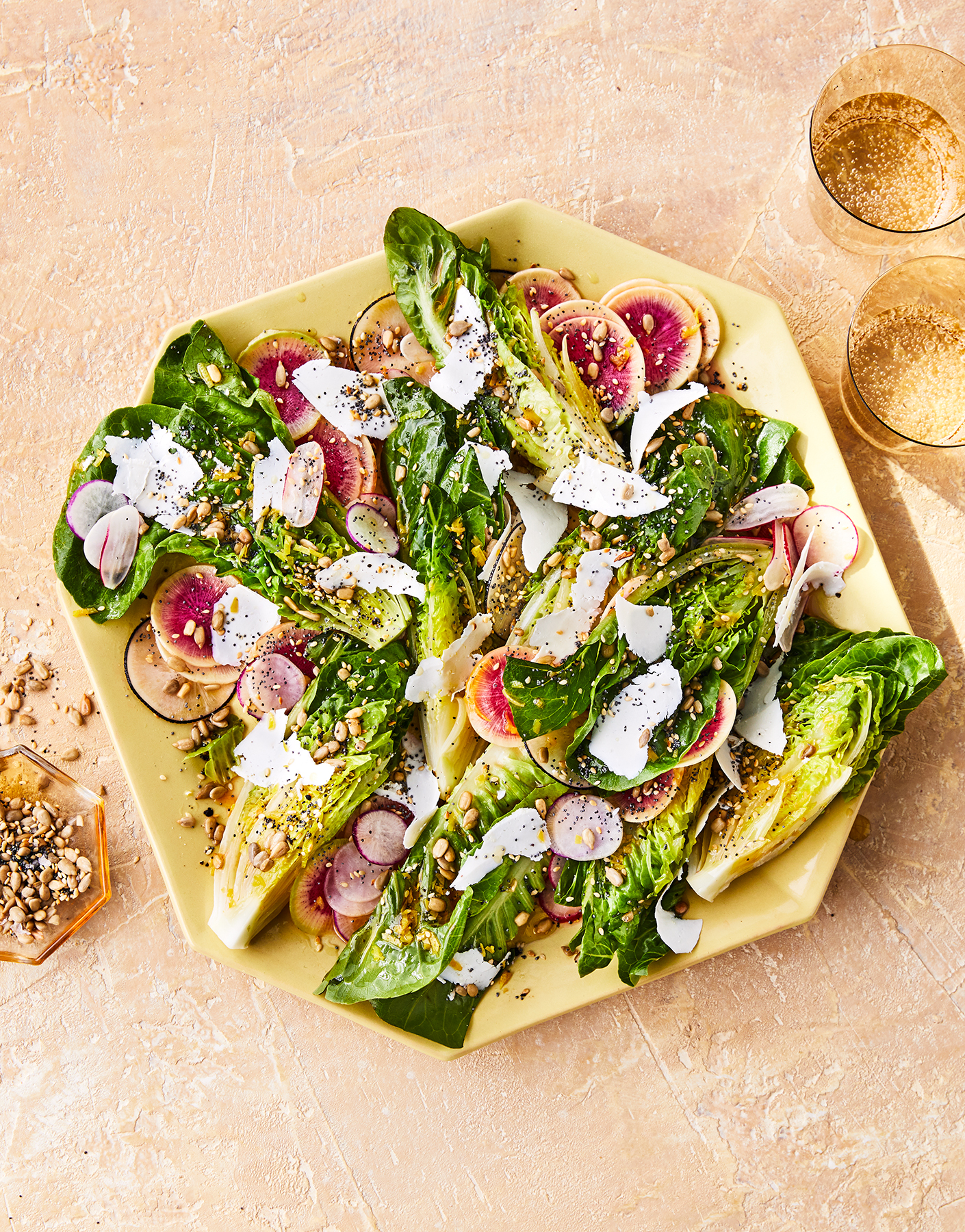 Little Gems and Radishes With Ricotta Salata and Seeds Recipe