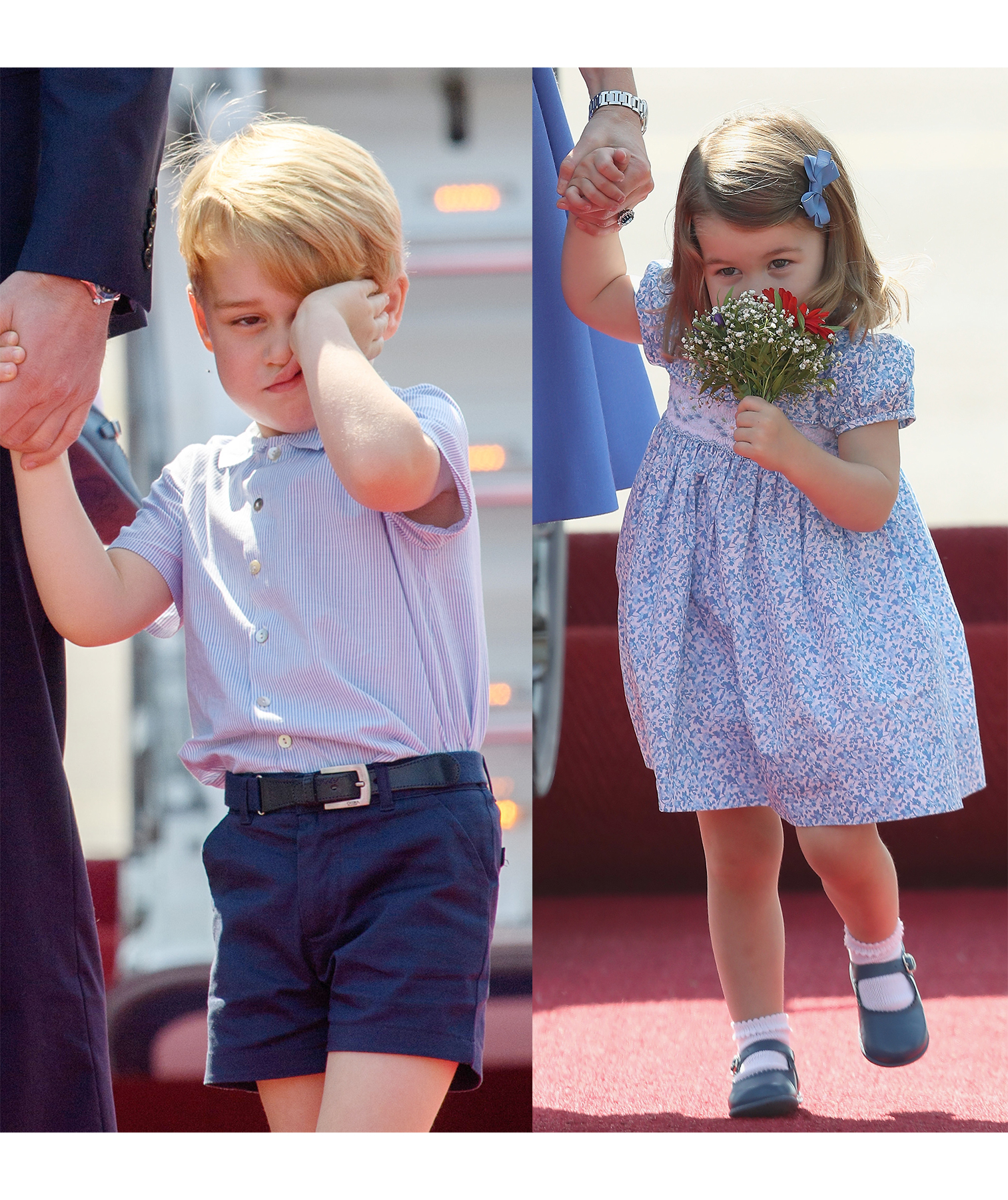 Prince George and Princess Charlotte traveling