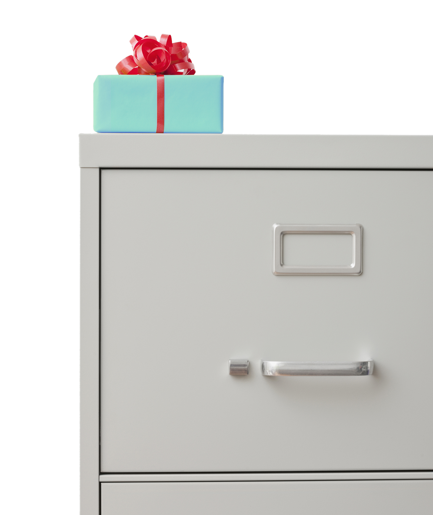 Gift on a filing cabinet