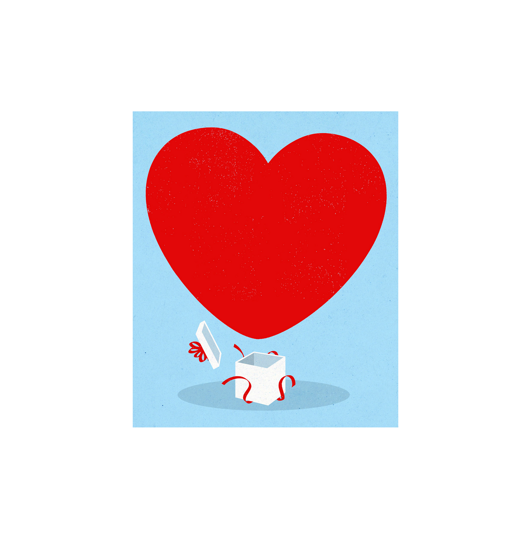 Illustration: heart coming out of gift box